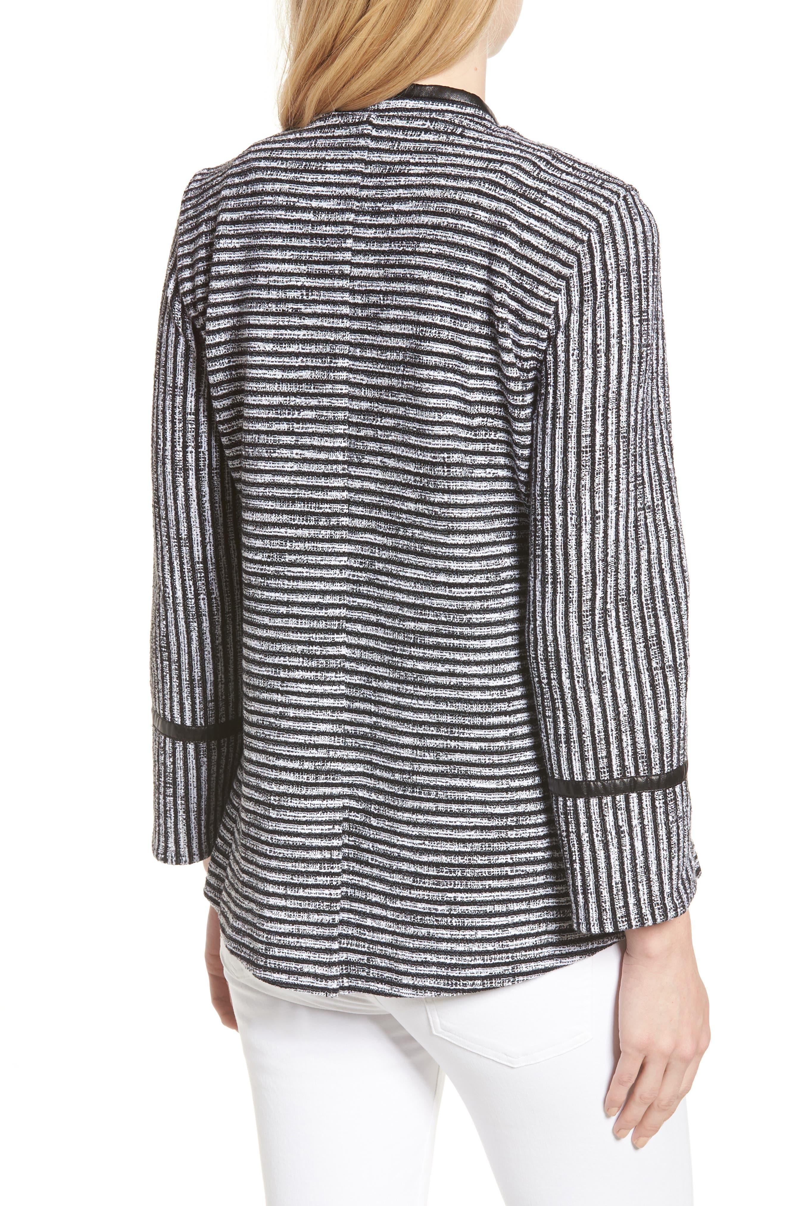 Irina Stripe Knit Jacket,                             Alternate thumbnail 2, color,                             IVORY/ BLACK