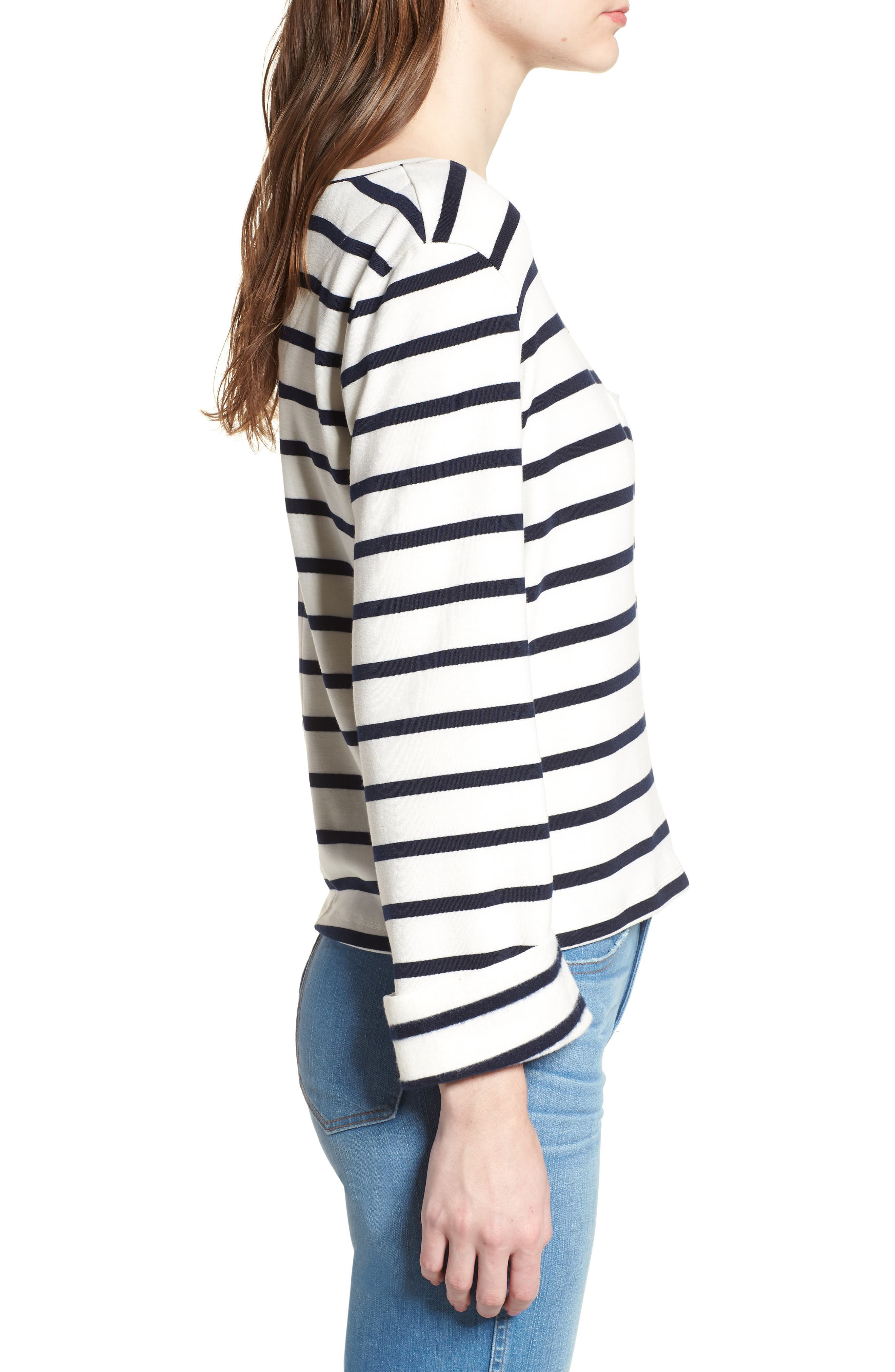 Bishop + Young Stripe Lace-Up Back Top,                             Alternate thumbnail 3, color,                             011