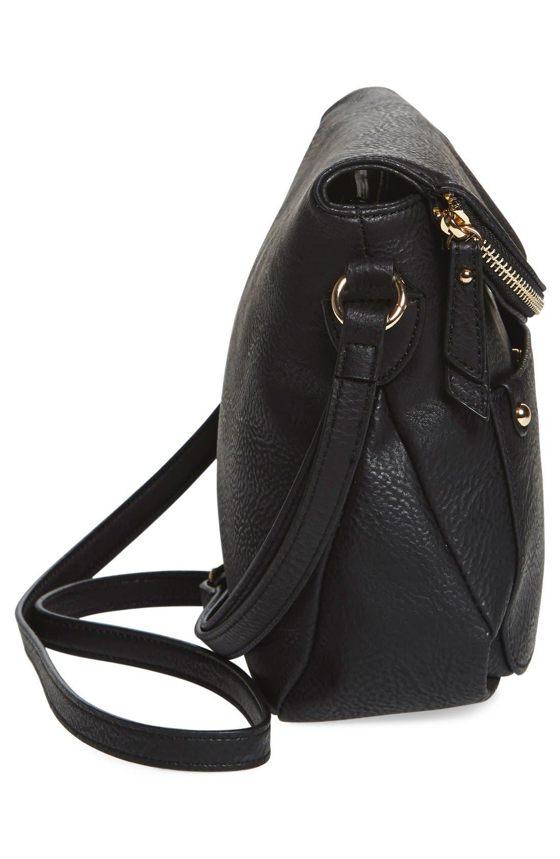 Zip Flap Faux Leather Crossbody Bag,                             Alternate thumbnail 6, color,                             001