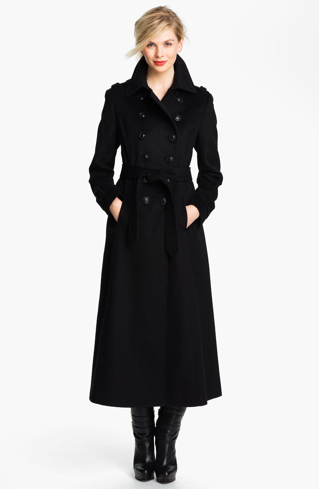 Double Breasted Maxi Coat,                             Main thumbnail 1, color,                             001