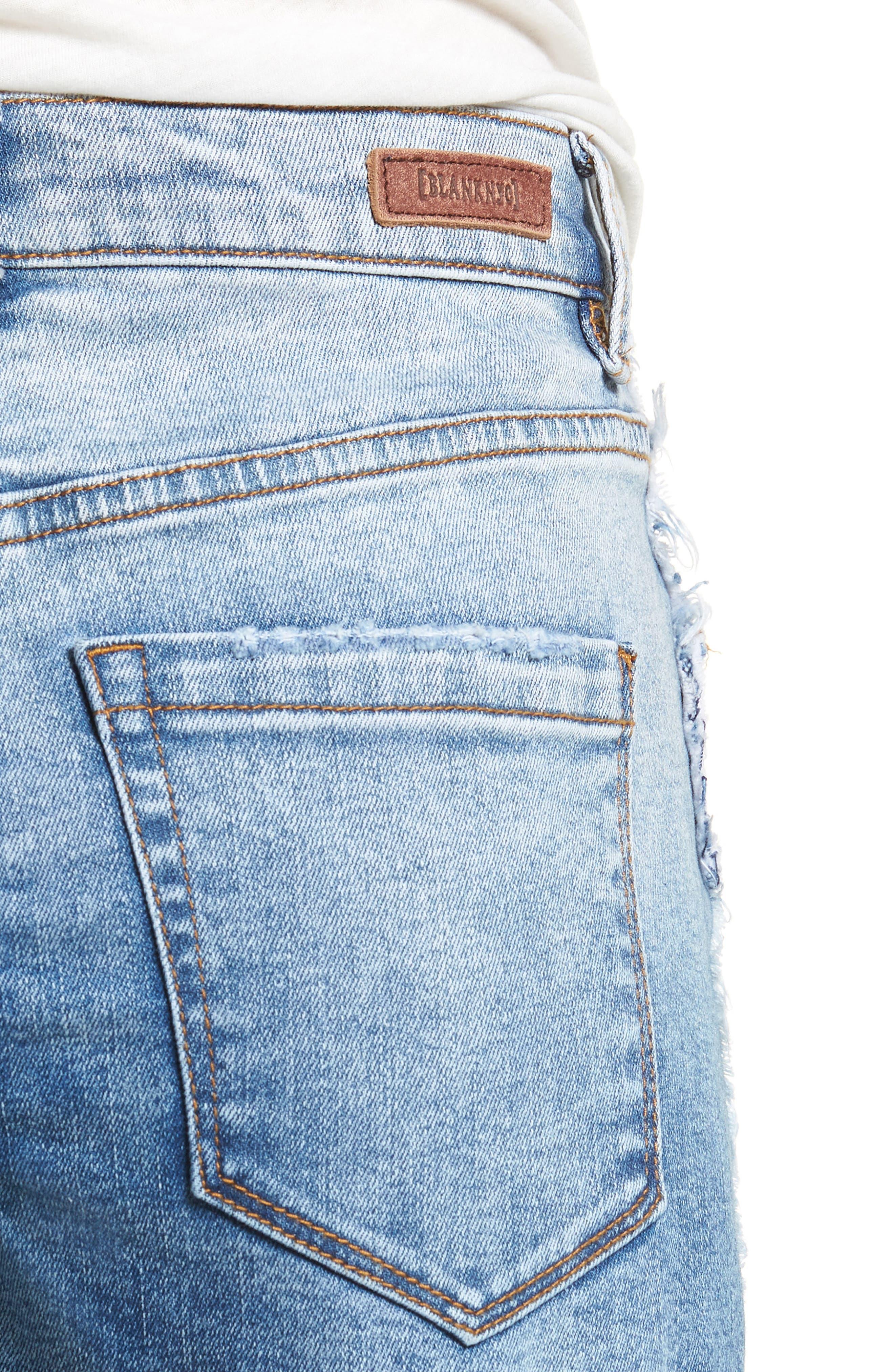 High Waist Cutoff Denim Shorts,                             Alternate thumbnail 4, color,                             400