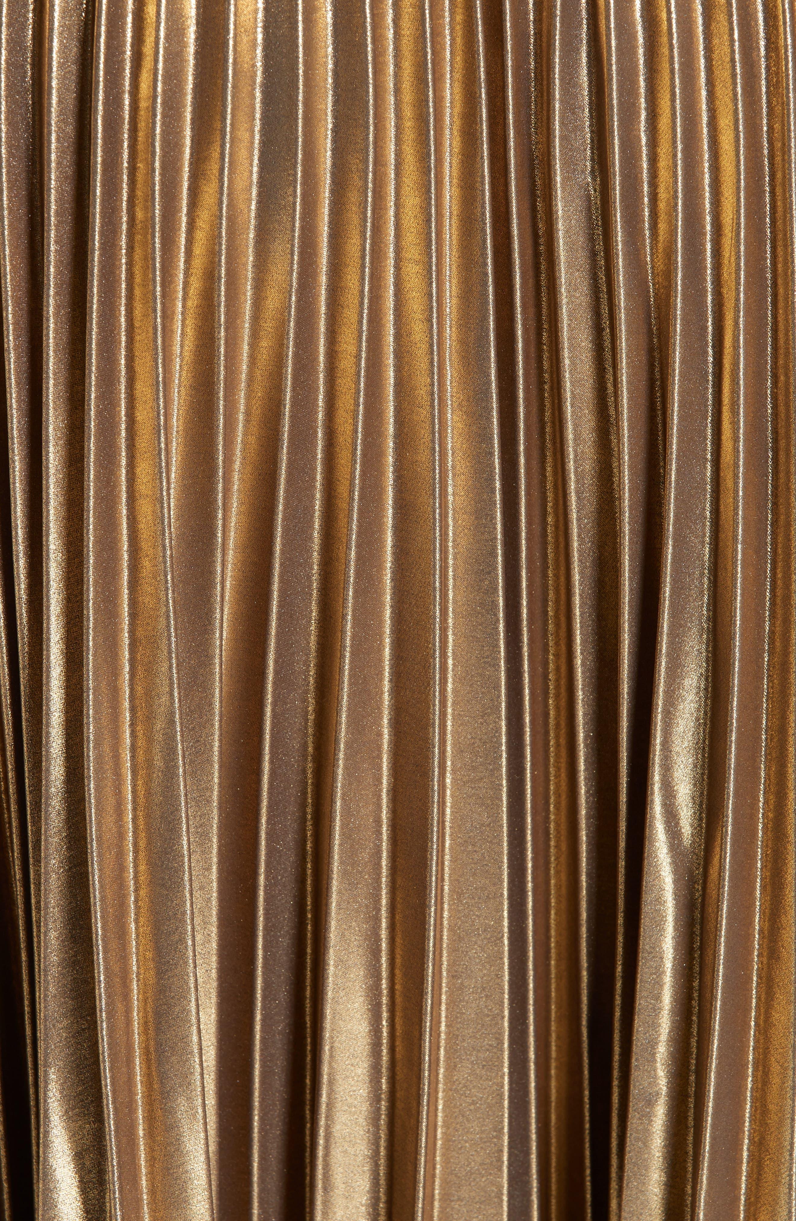 Pleated Metallic Skirt,                             Alternate thumbnail 5, color,                             710