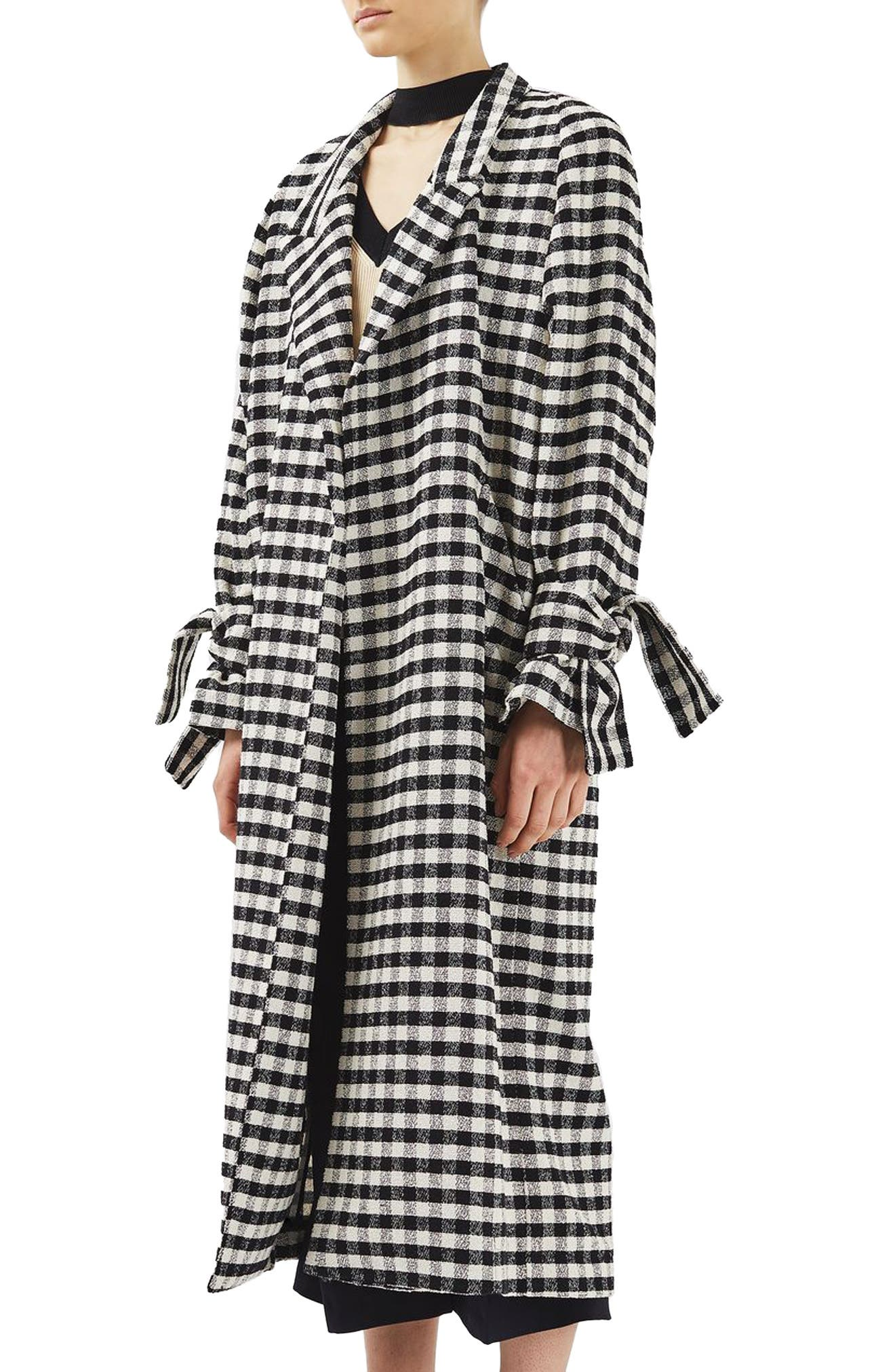 Gingham Duster Coat,                             Alternate thumbnail 3, color,                             001