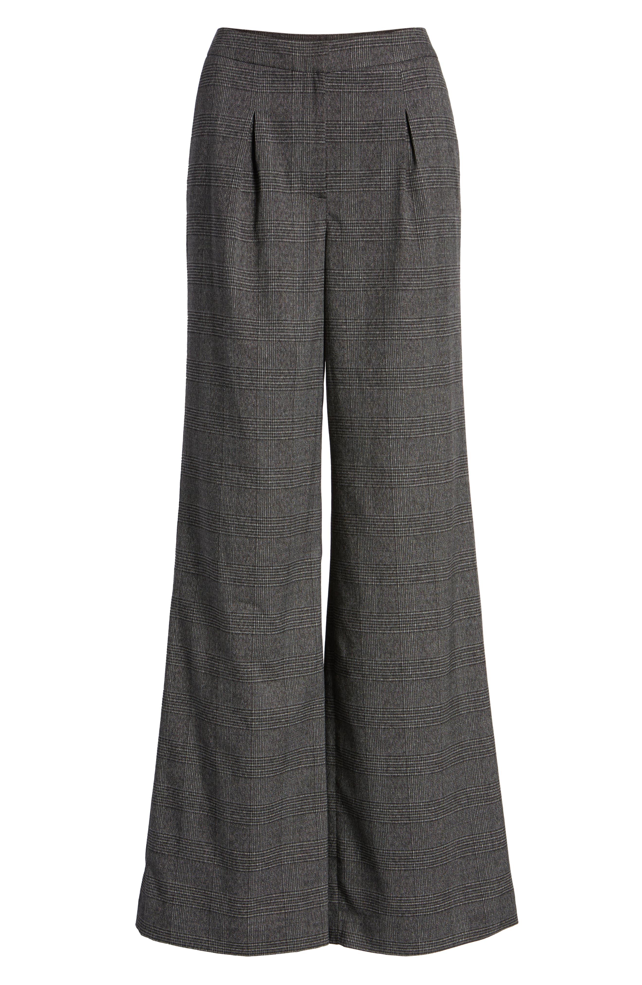 Plaid High Waist Wide Leg Pants,                             Alternate thumbnail 6, color,                             030