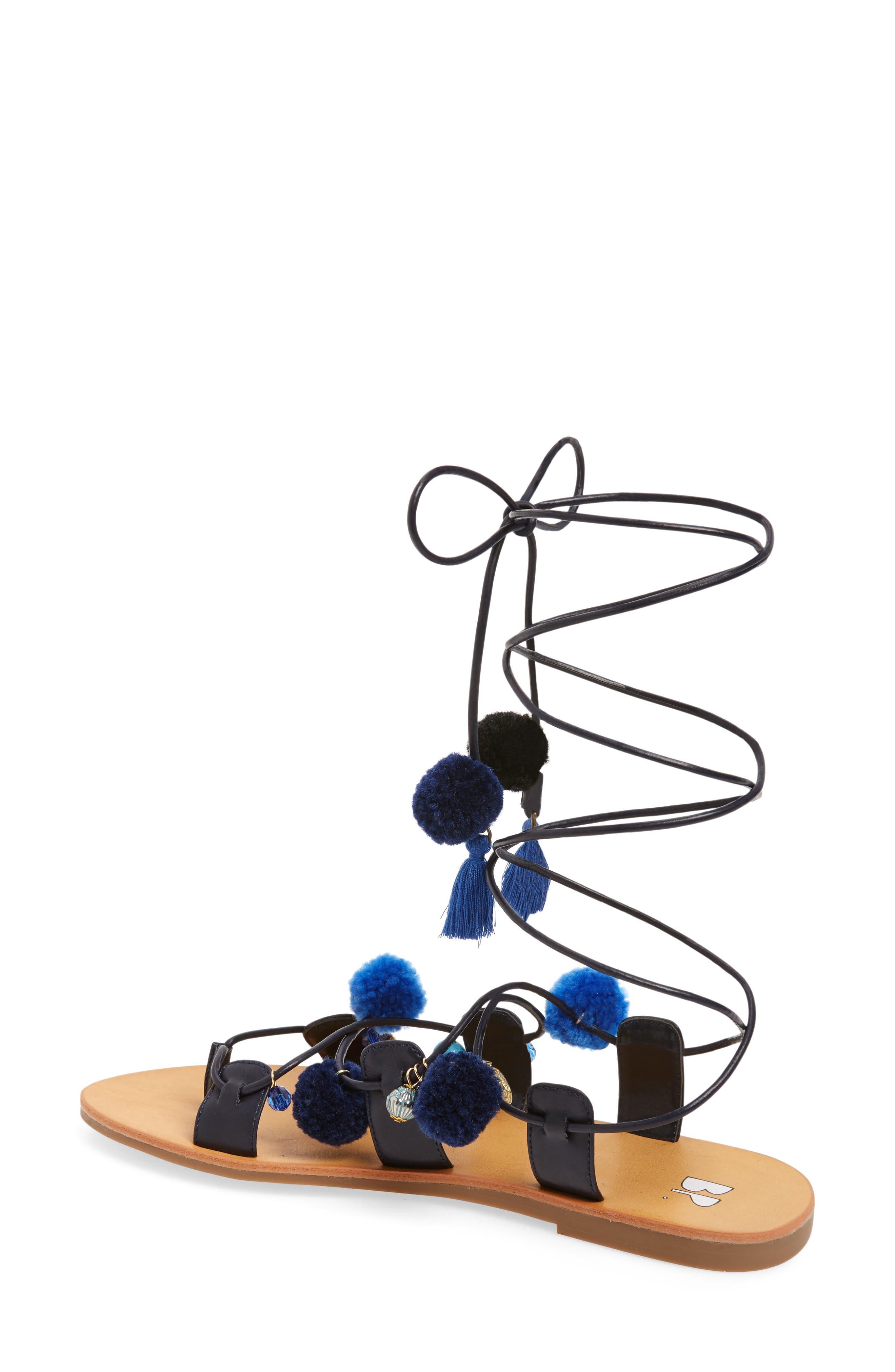 Laney Pompom Lace-Up Sandal,                             Alternate thumbnail 2, color,                             435