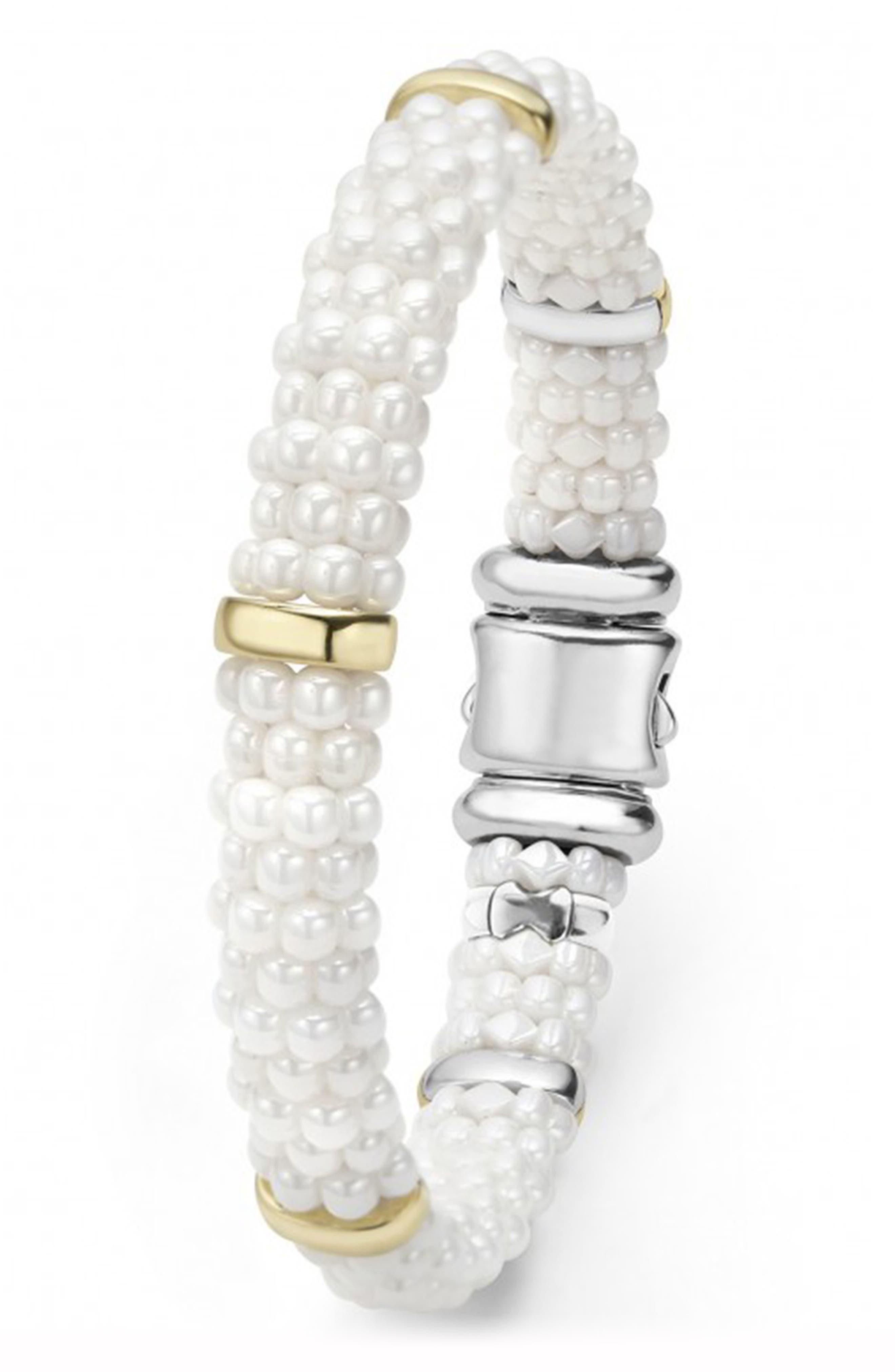 'White Caviar' Station Bracelet,                             Alternate thumbnail 5, color,                             WHITE CAVIAR