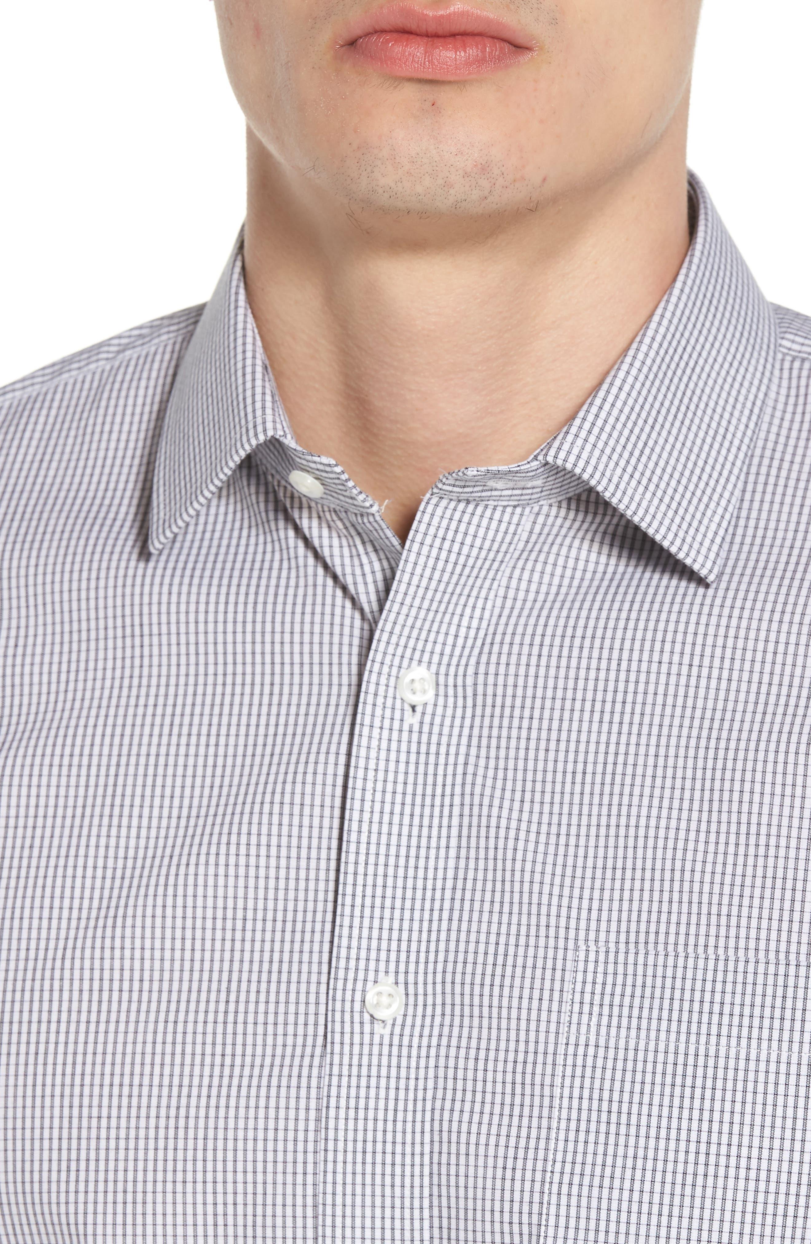 Trim Fit Non-Iron Check Dress Shirt,                             Alternate thumbnail 2, color,                             001
