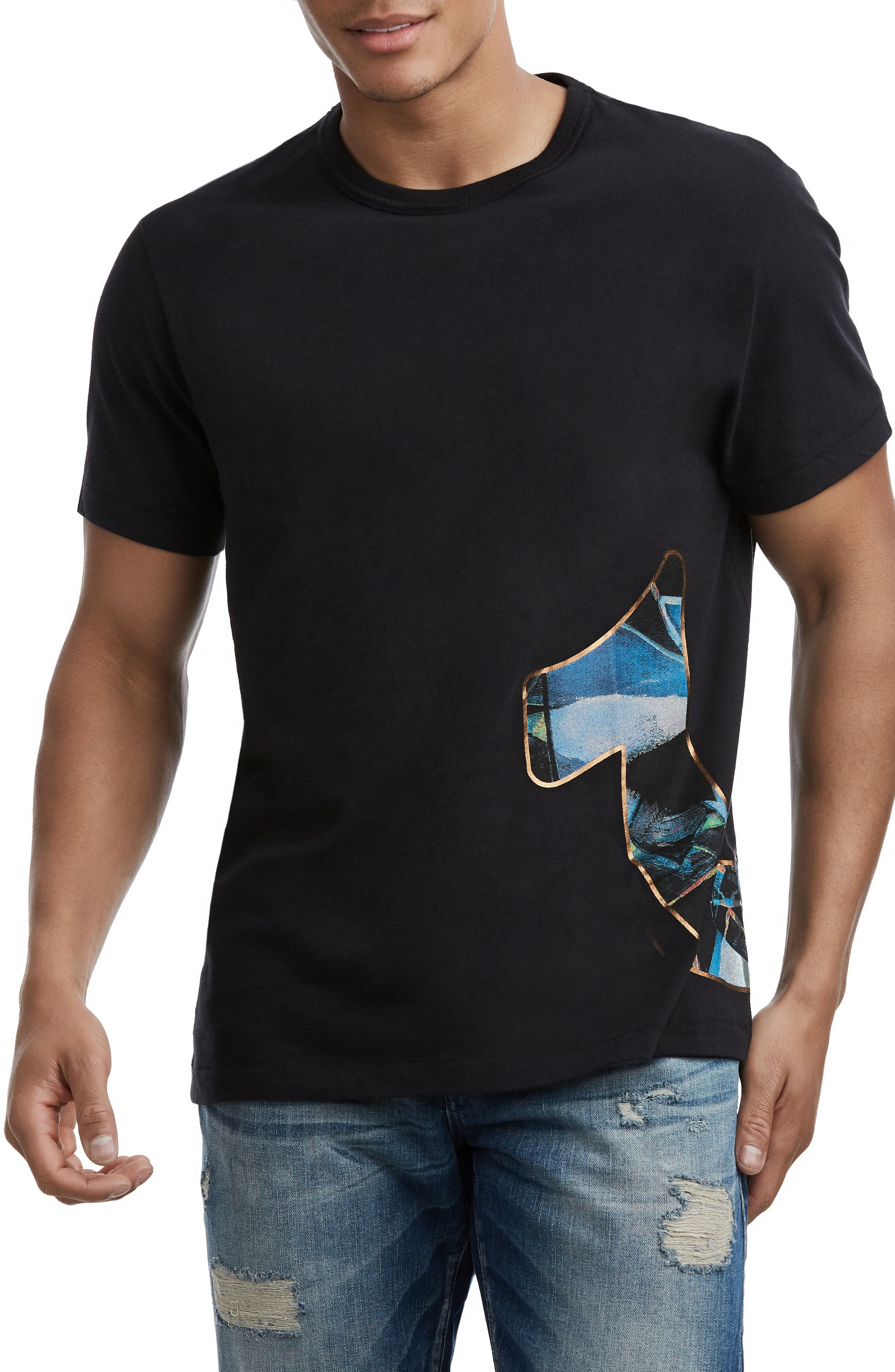 Stained Glass Logo T-Shirt,                         Main,                         color, TRUE BLACK