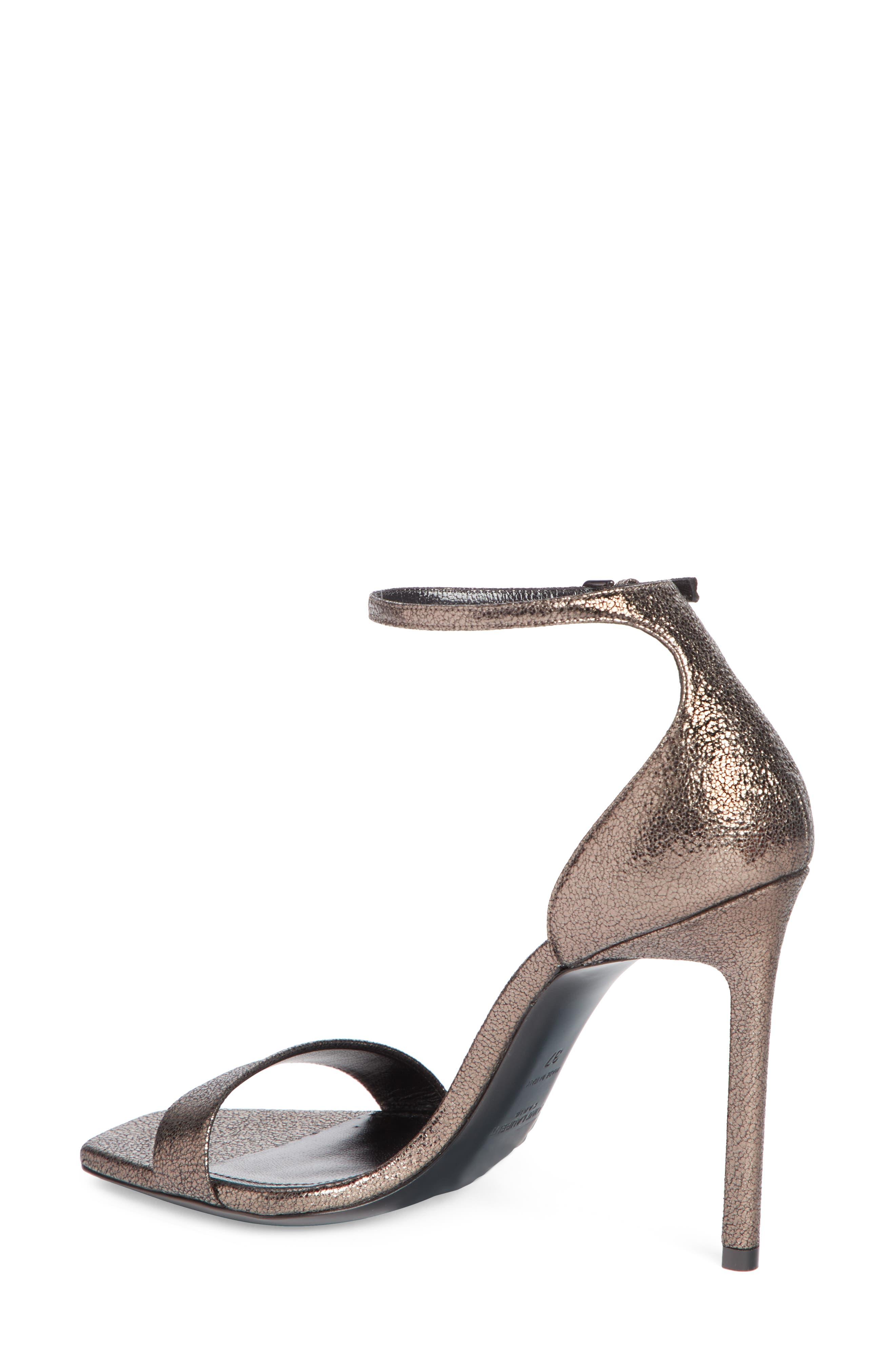 Amber Ankle Strap Sandal,                             Alternate thumbnail 2, color,                             BLACK/ METALLIC