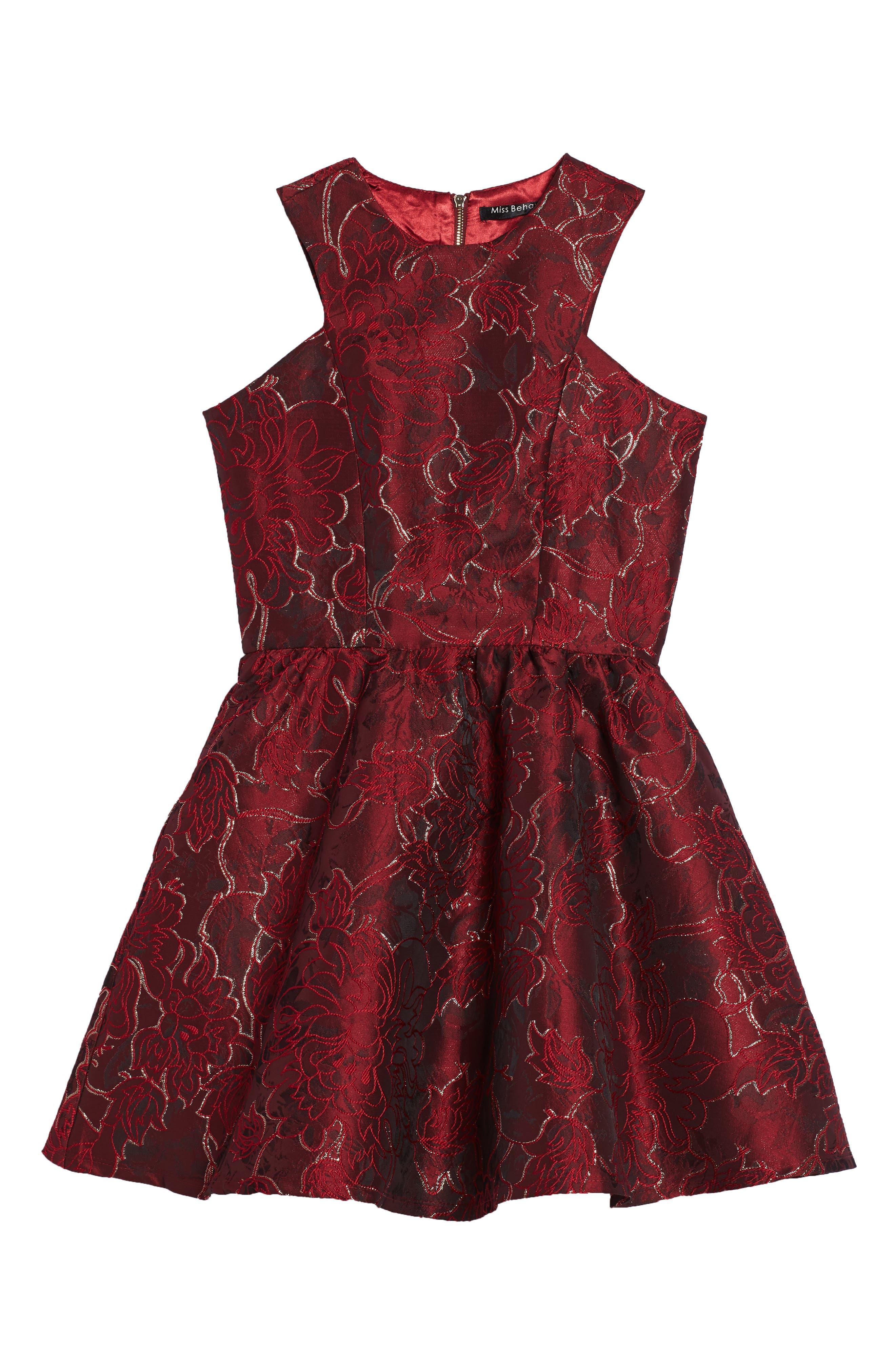 Camilla Fit & Flare Brocade Dress,                             Main thumbnail 1, color,                             600