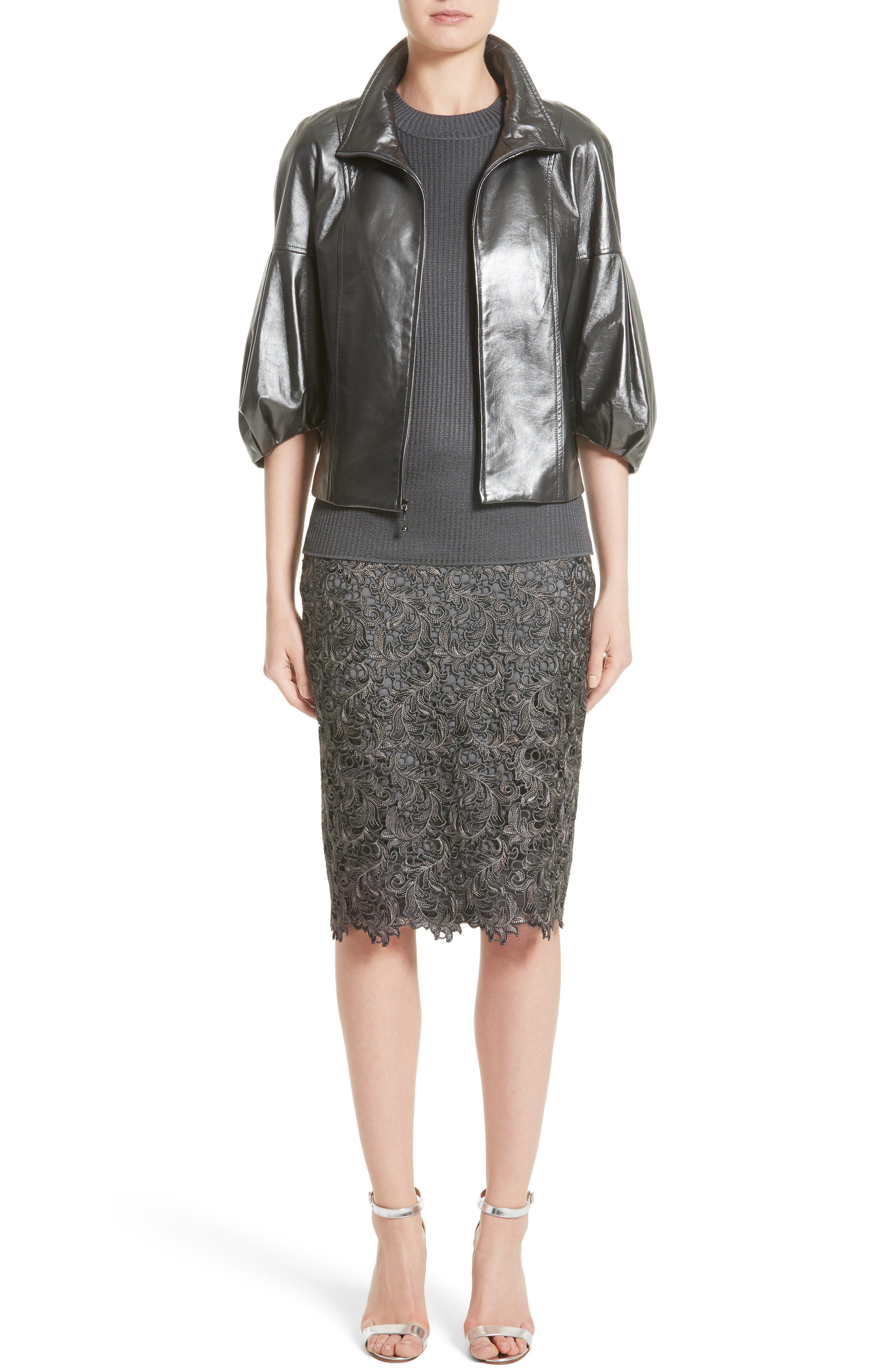 Plume Embroidered Lace Pencil Skirt,                             Alternate thumbnail 6, color,                             030