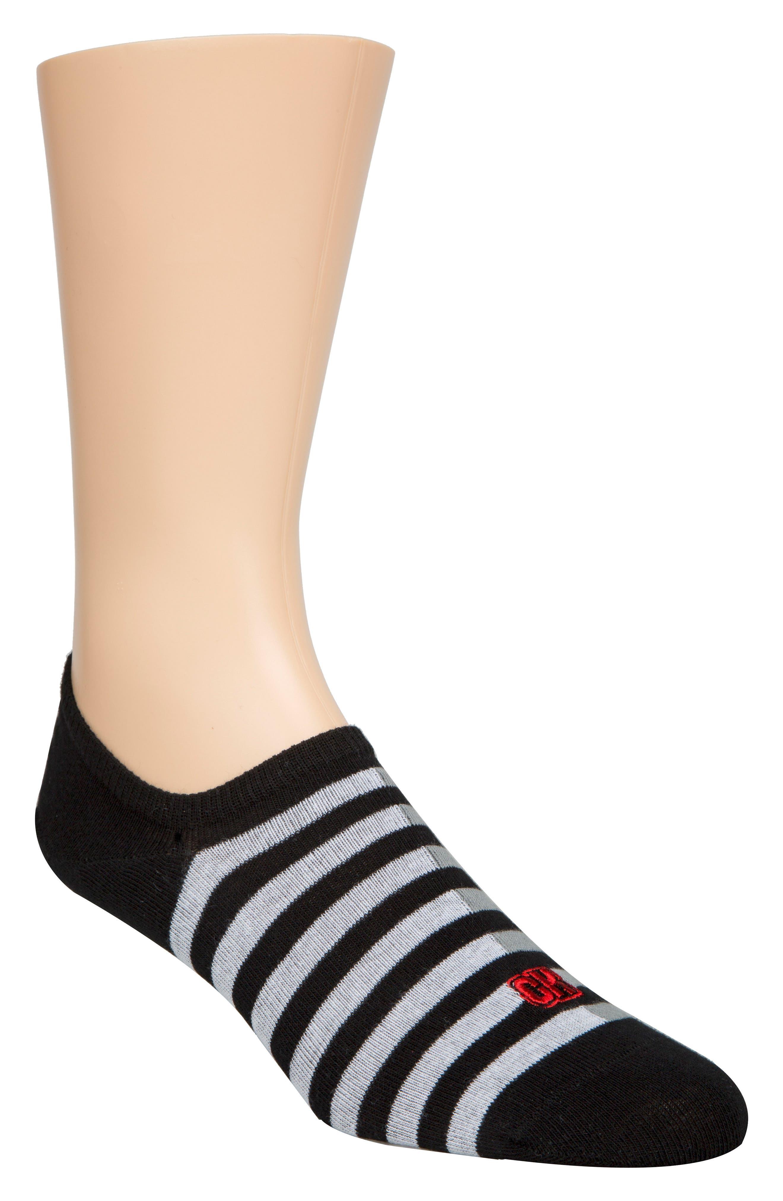CALVIN KLEIN Stripe No-Show Socks, Main, color, 001