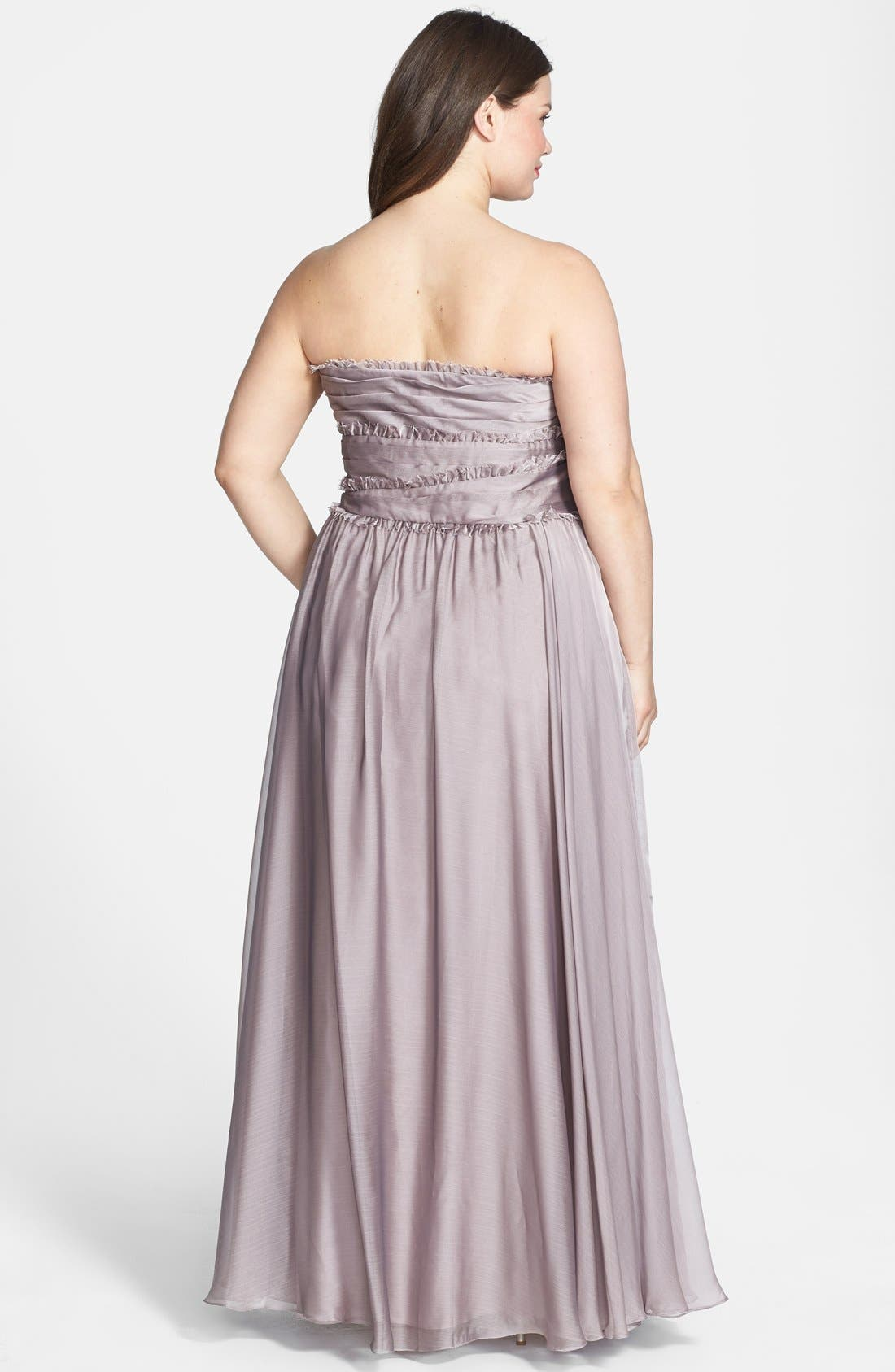 ML Monique Lhuillier Bridesmaids Strapless Chiffon Gown,                             Alternate thumbnail 37, color,