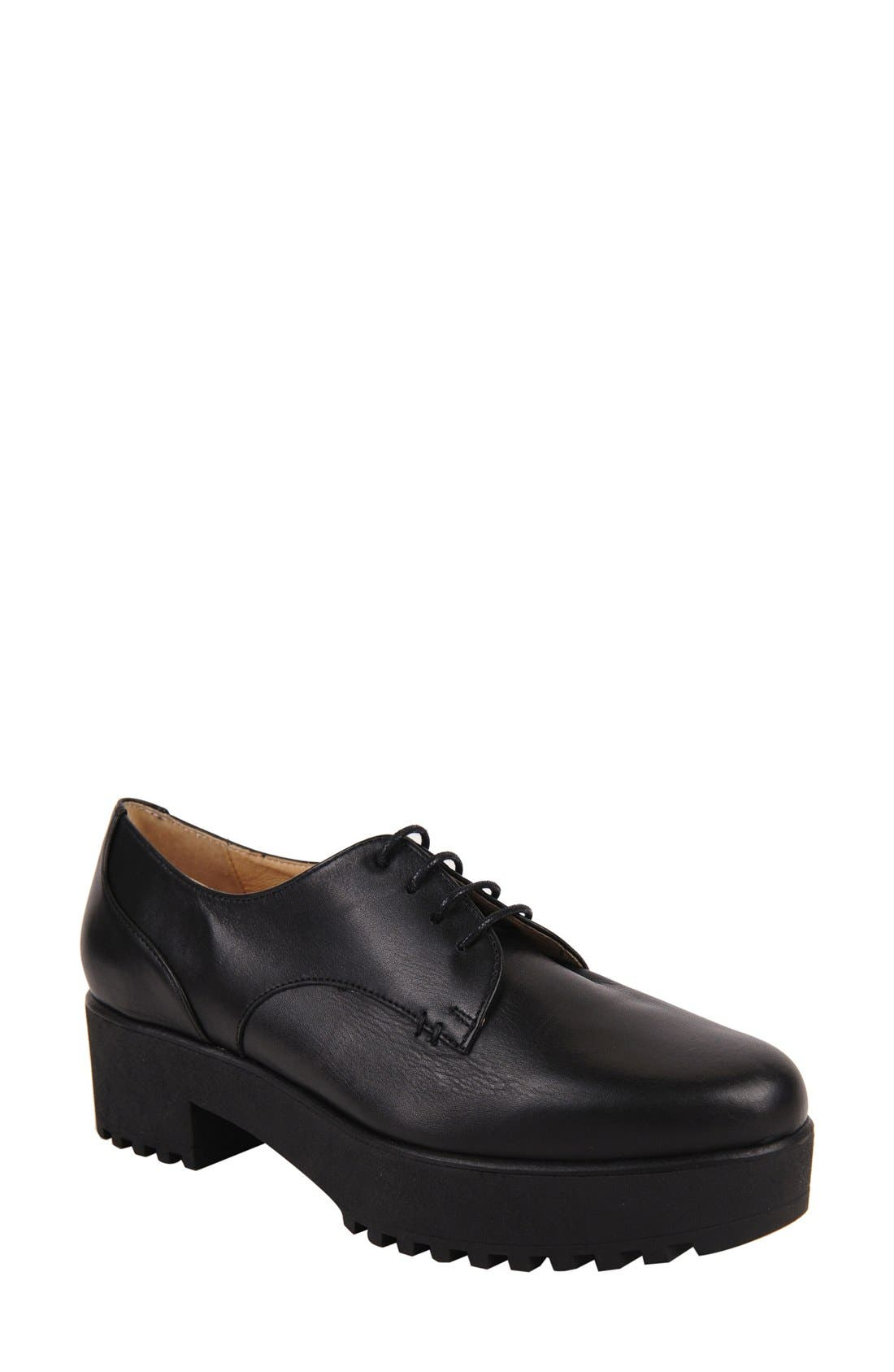 Andrea Lug Oxford,                         Main,                         color, BLACK LEATHER