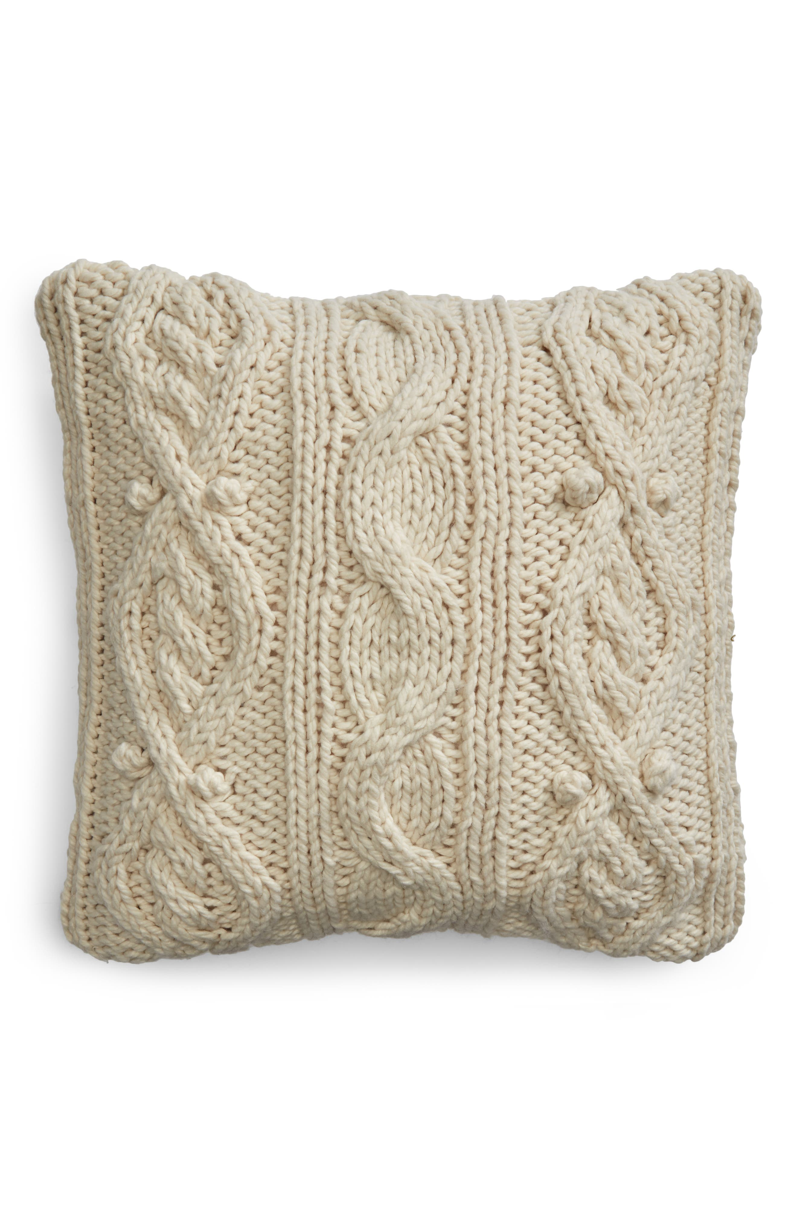 Chunky Cable Knit Accent Pillow,                             Main thumbnail 1, color,                             IVORY DOVE