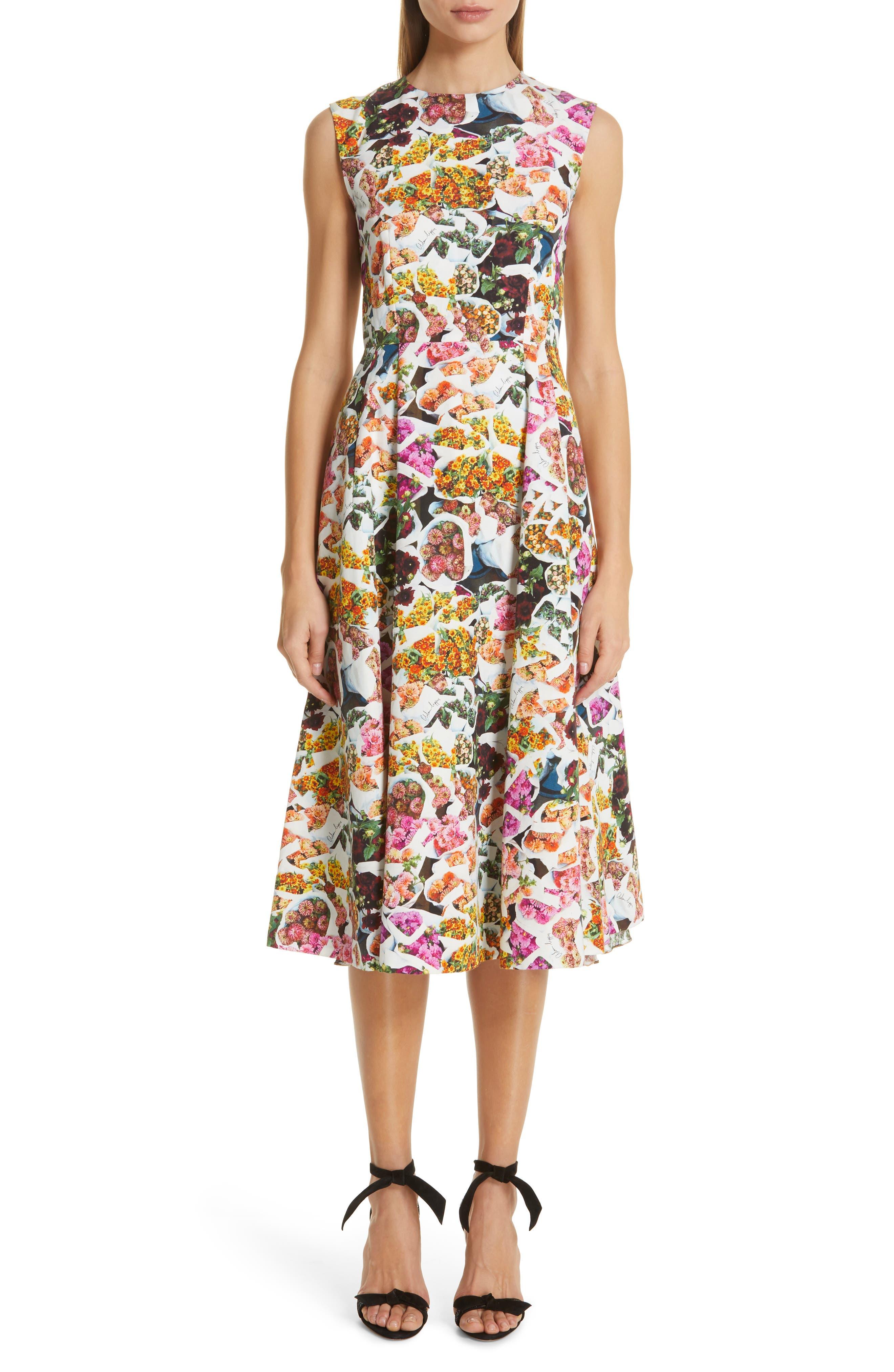 Adam Lippes Floral Print Cotton & Silk Dress, White