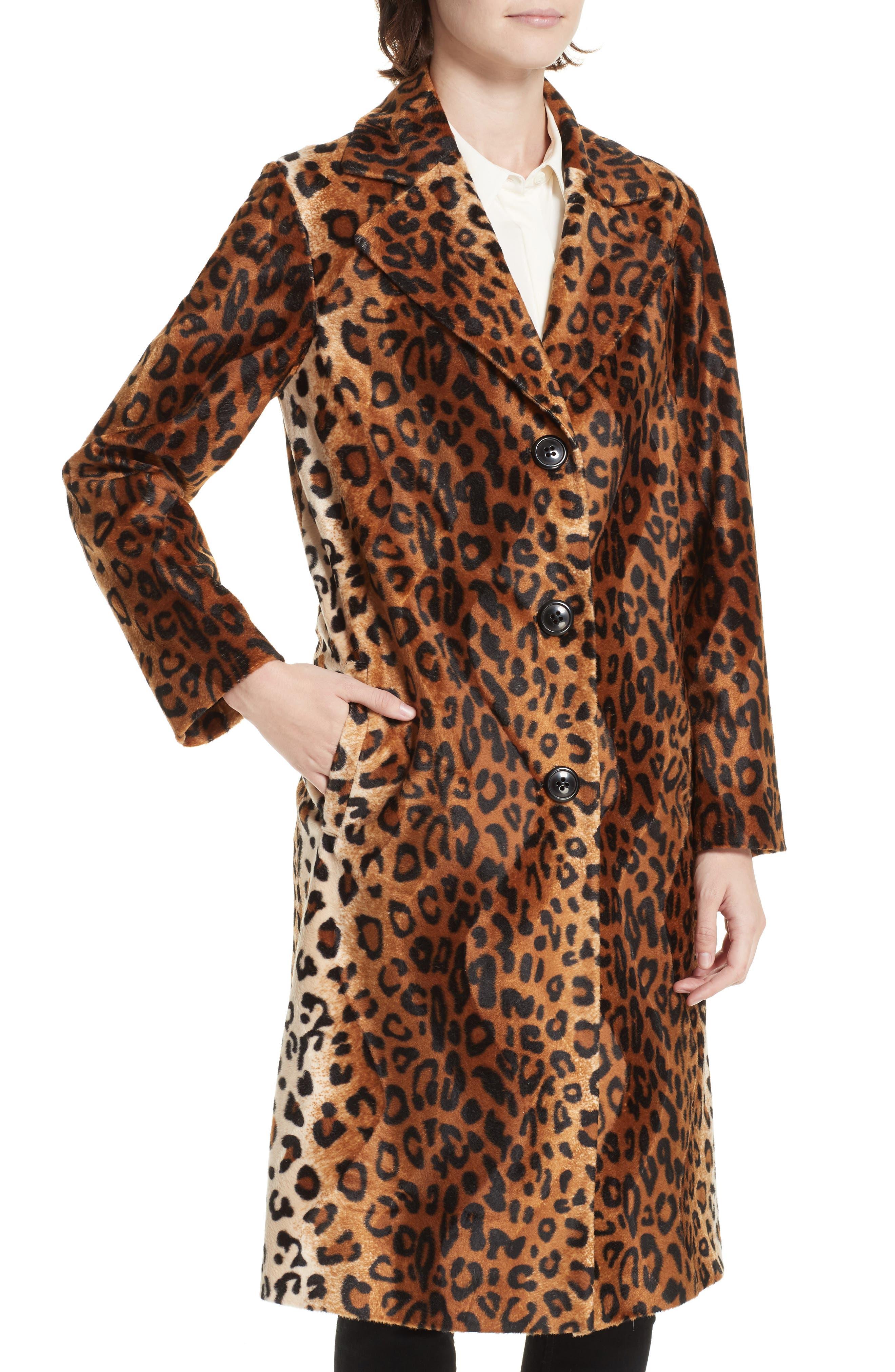 Faux Leopard Fur Coat,                             Alternate thumbnail 4, color,                             BROWN LEOPARD