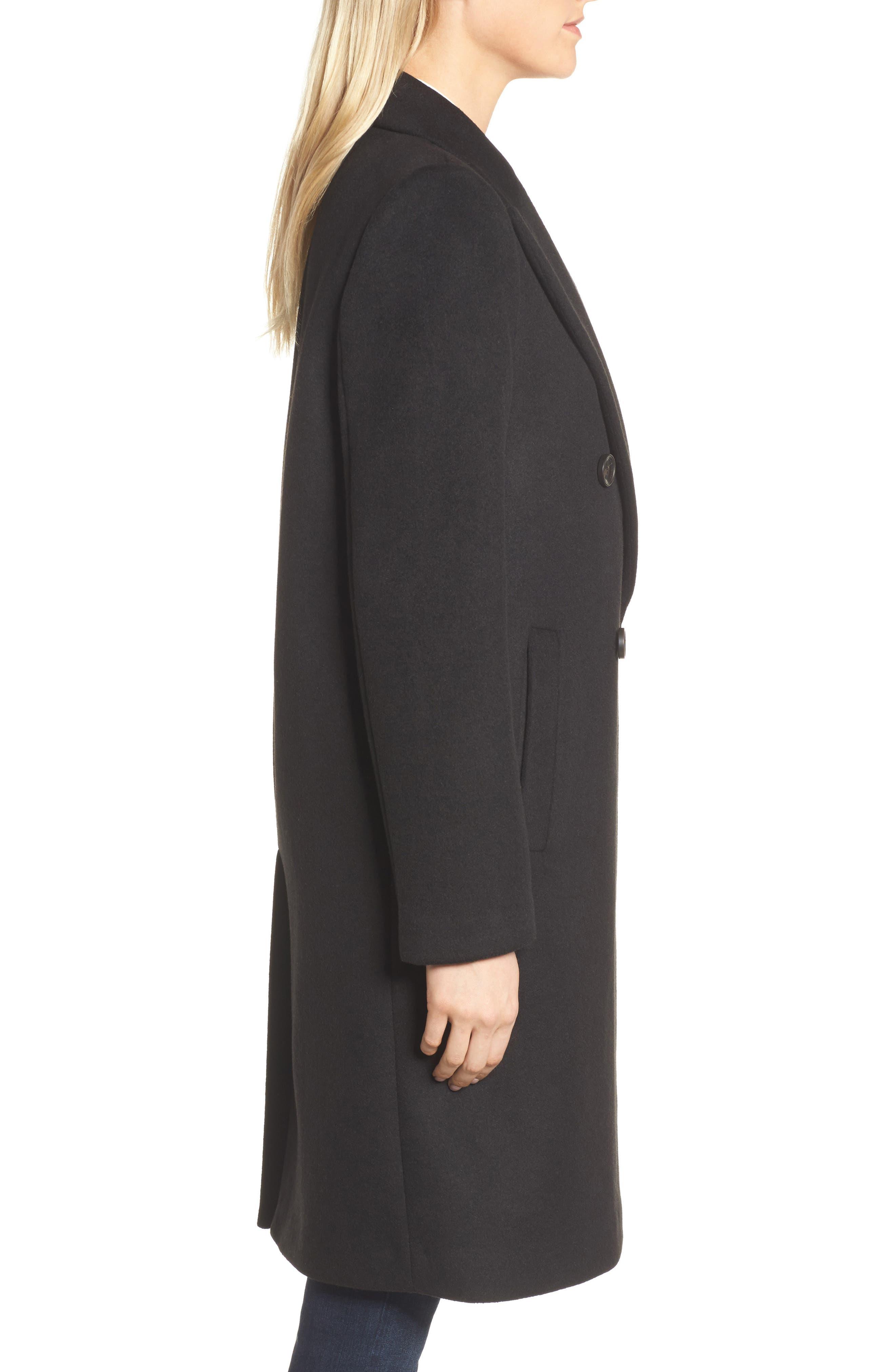 DKNY Lavish Wool Blend Coat,                             Alternate thumbnail 3, color,                             001