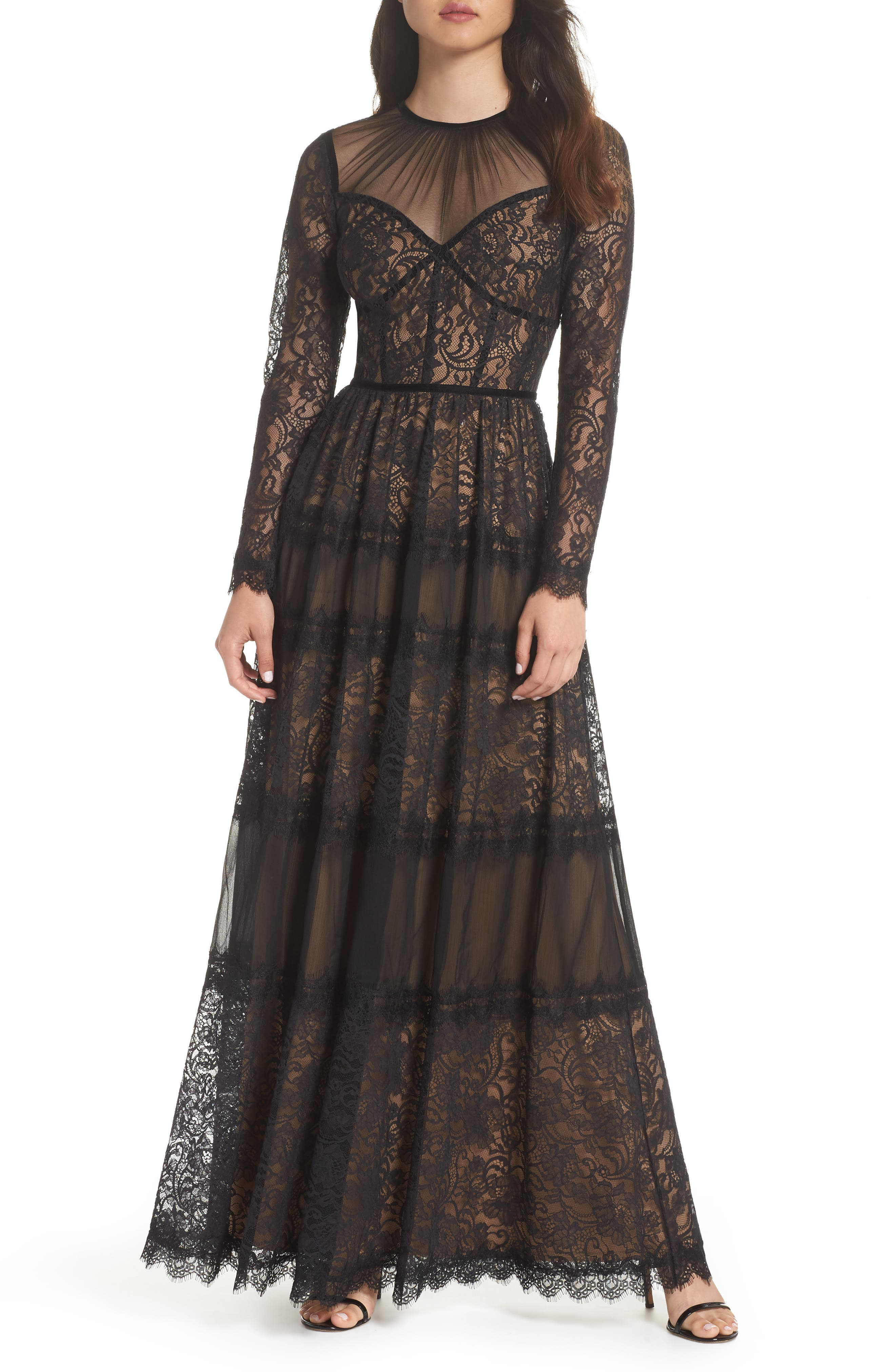 TADASHI SHOJI Long-Sleeve Lace & Pleated Gown in Black/ Nude