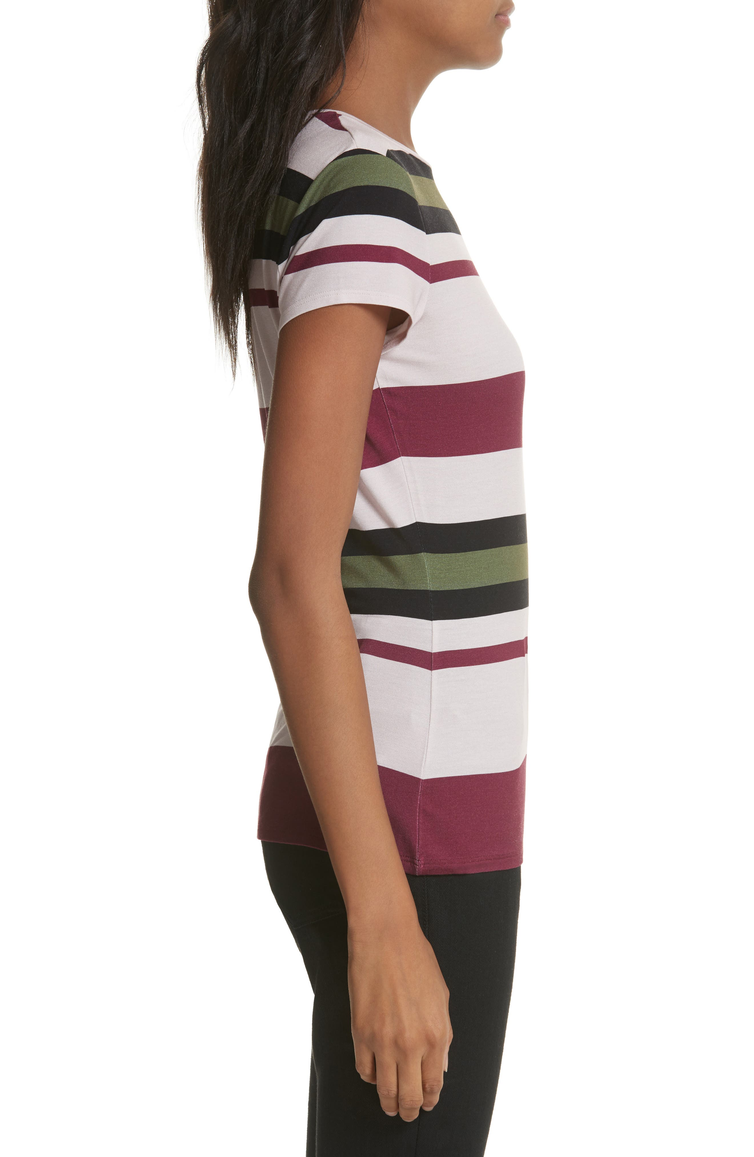 Imperial Stripe Fitted Tee,                             Alternate thumbnail 3, color,