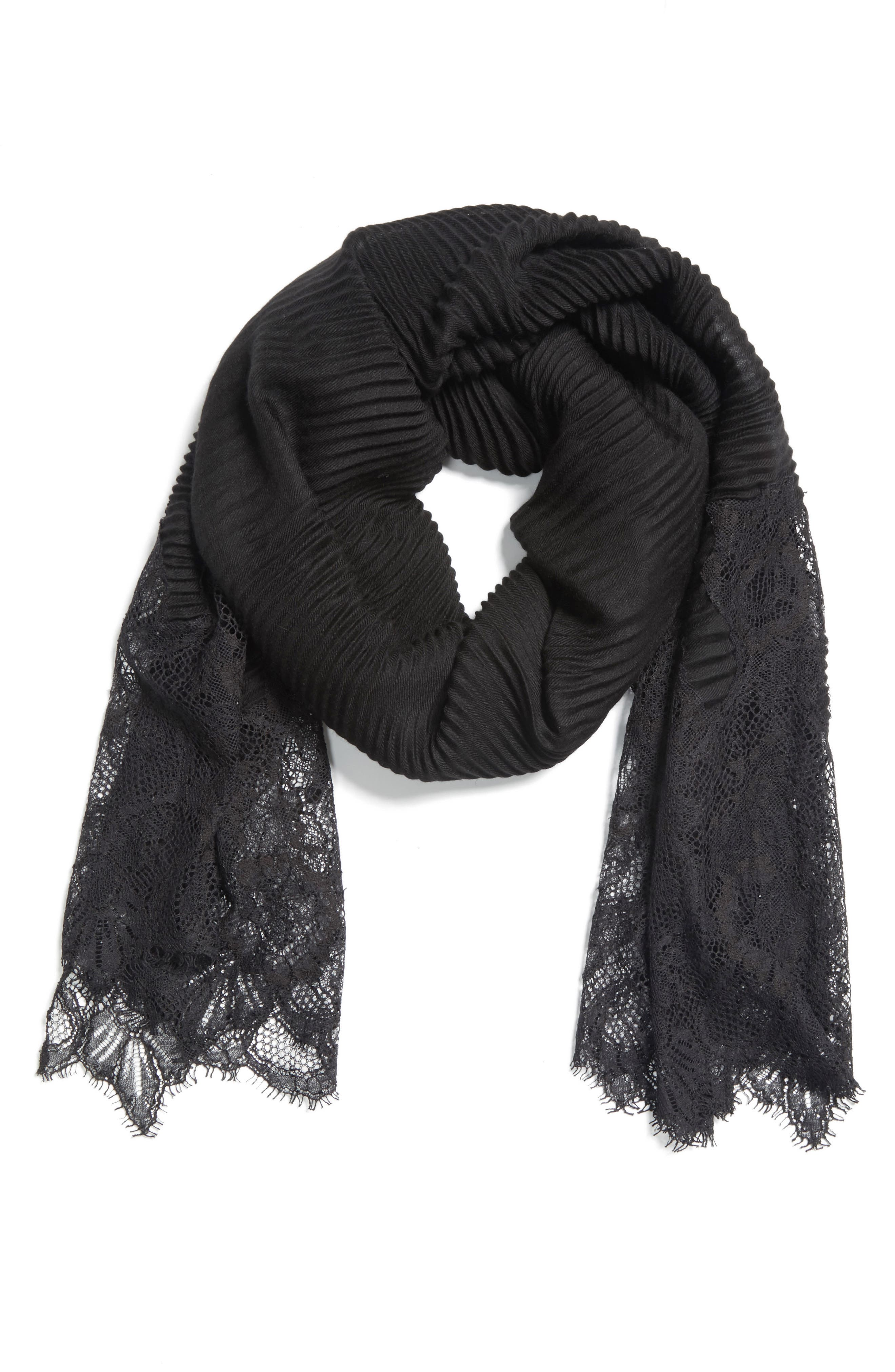 VALENTINO,                             Plissé Lace Trim Scarf,                             Alternate thumbnail 3, color,                             BLACK