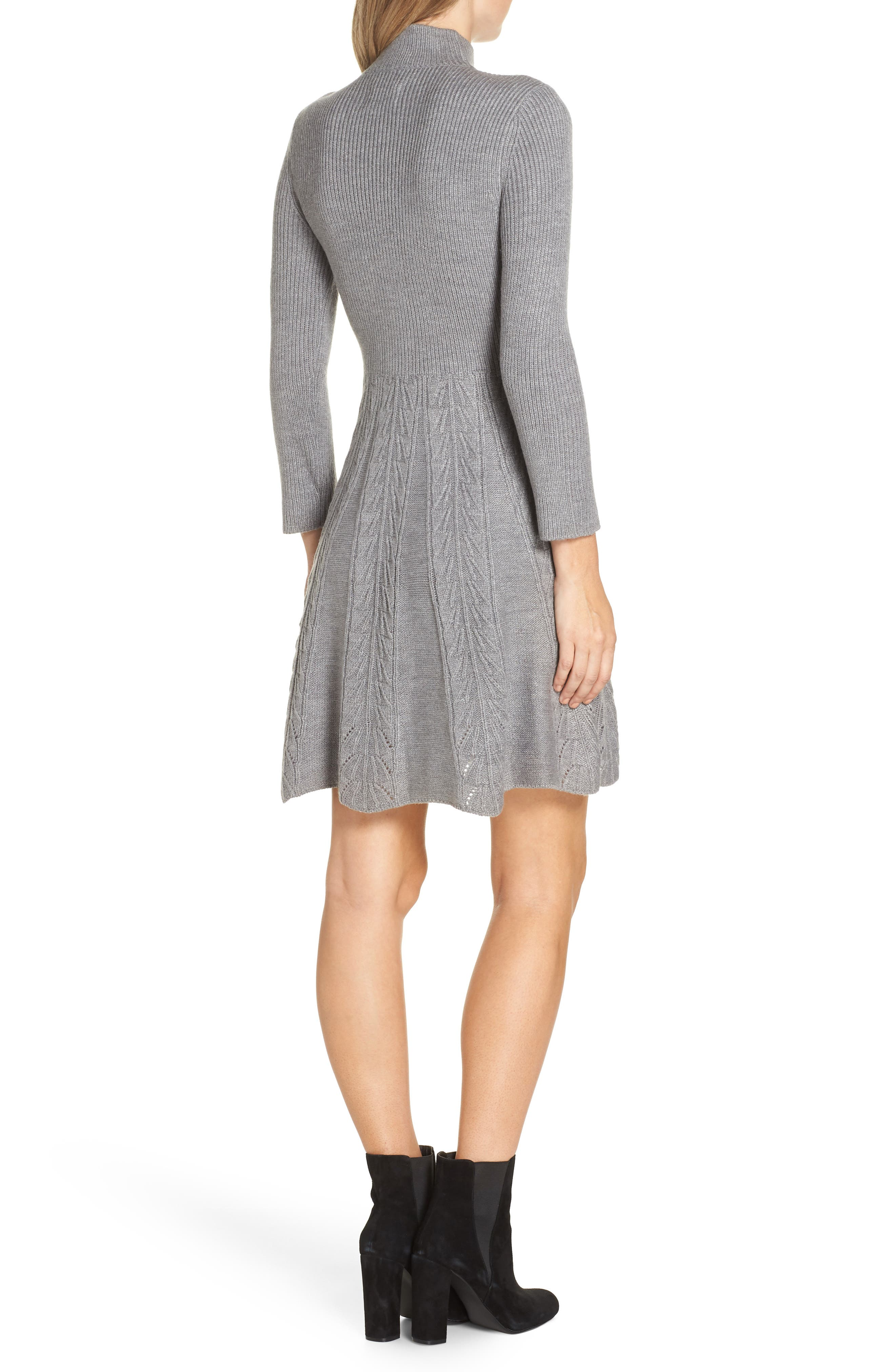 Mock Neck Fit & Flare Sweater Dress,                             Alternate thumbnail 2, color,                             GREY