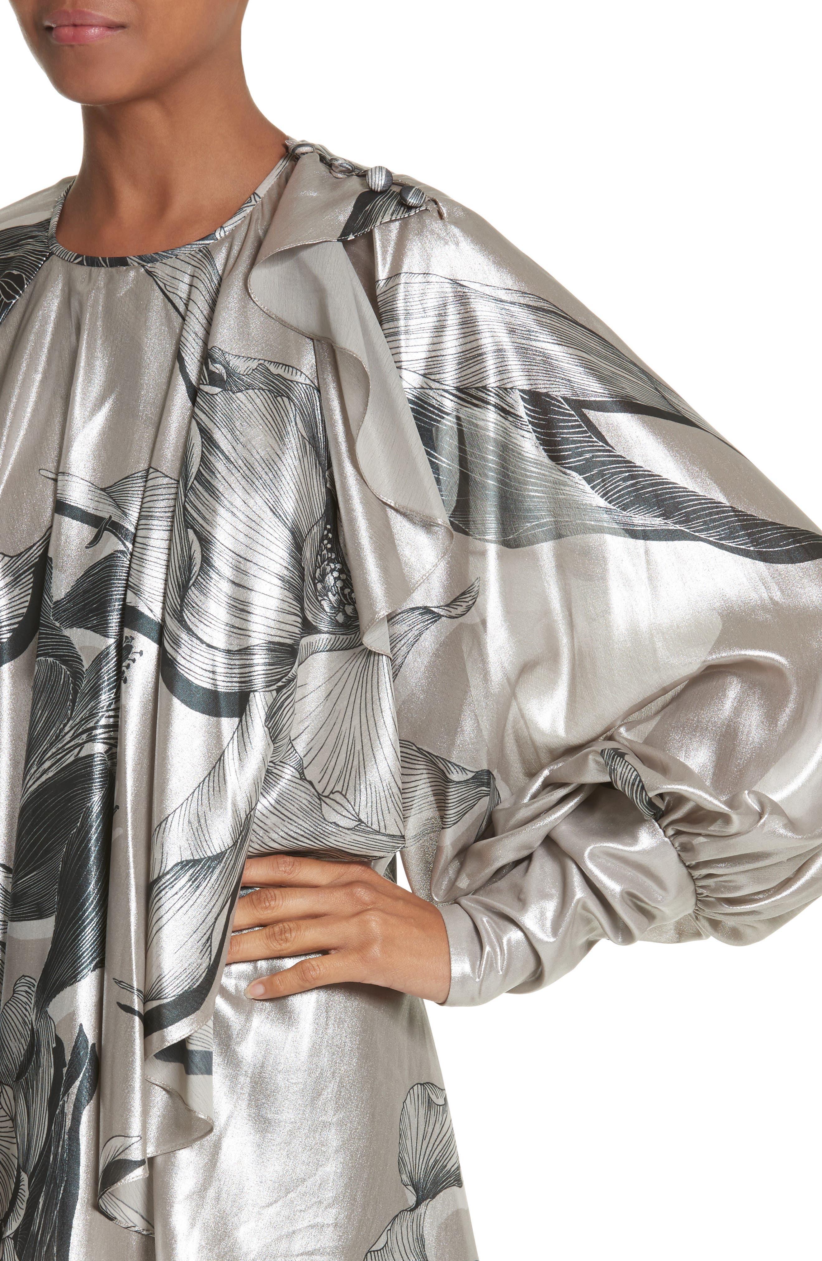 Iris Satin Silk Blend Drape Top,                             Alternate thumbnail 4, color,                             220