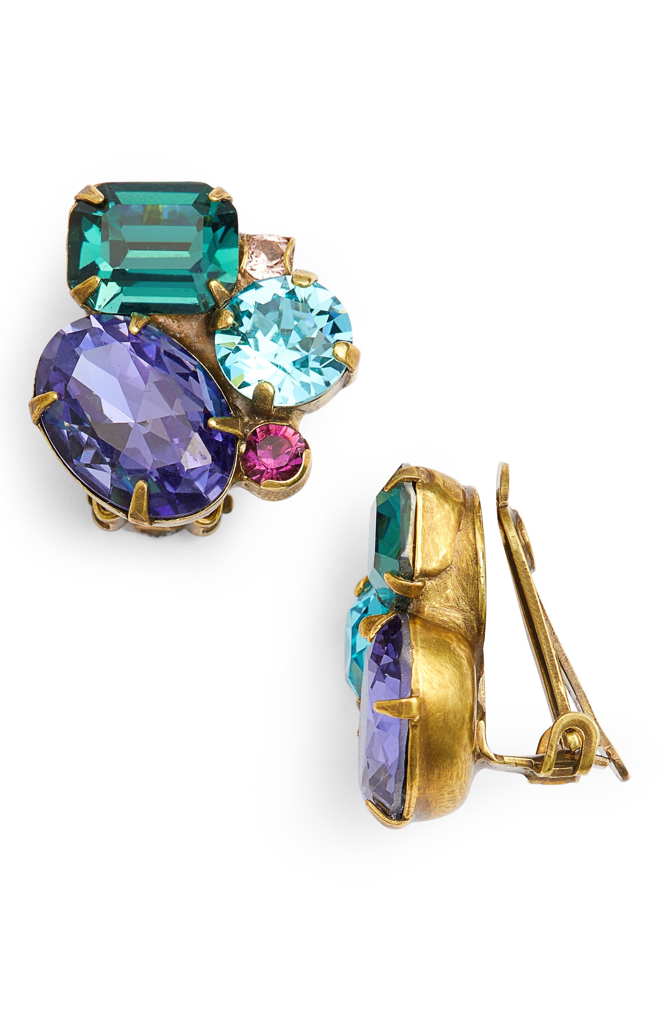 Crystal Cluster Clip Earrings,                             Main thumbnail 1, color,                             MULTI