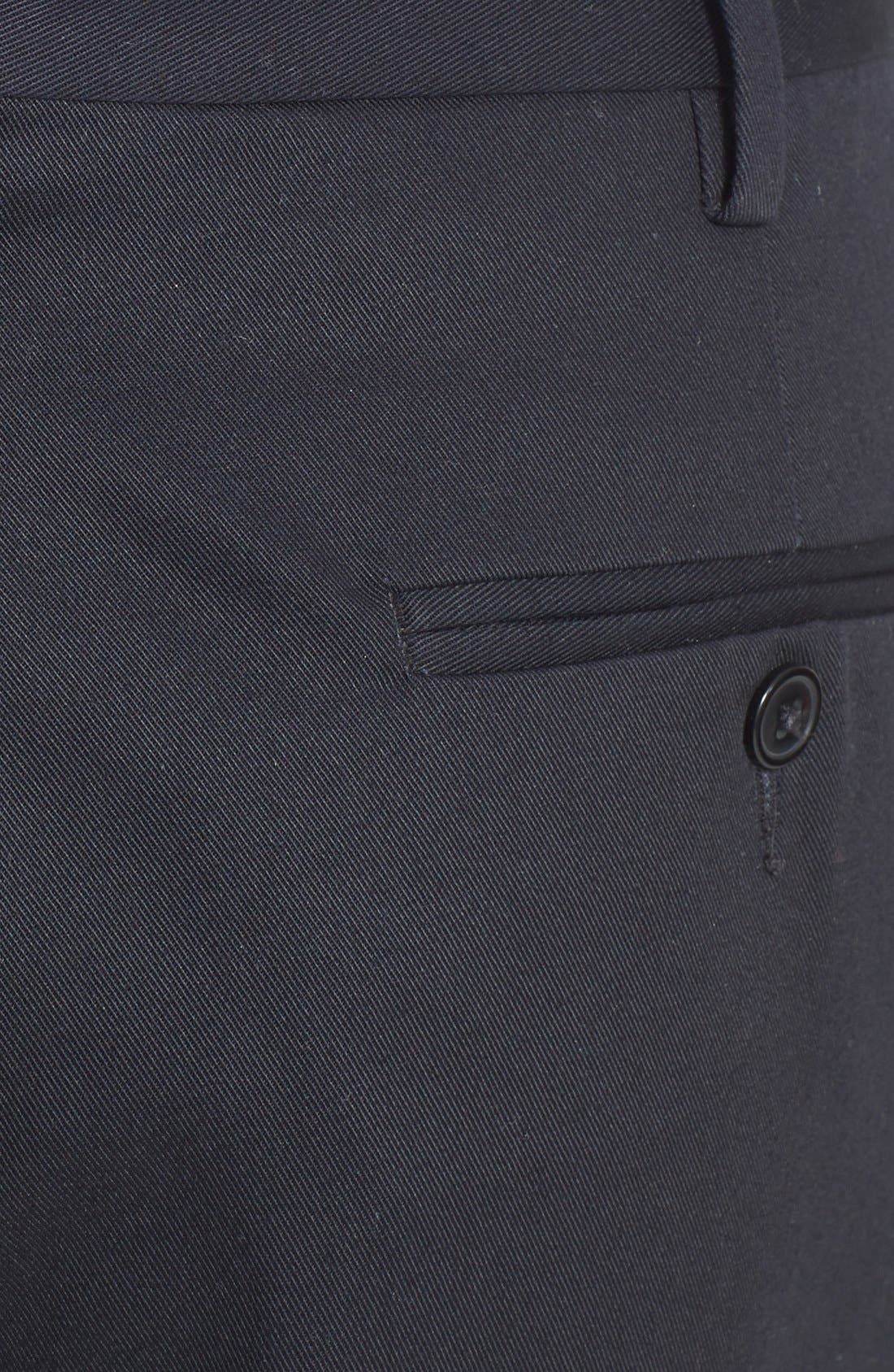 Pleated Cotton Trousers,                             Alternate thumbnail 6, color,                             BLACK