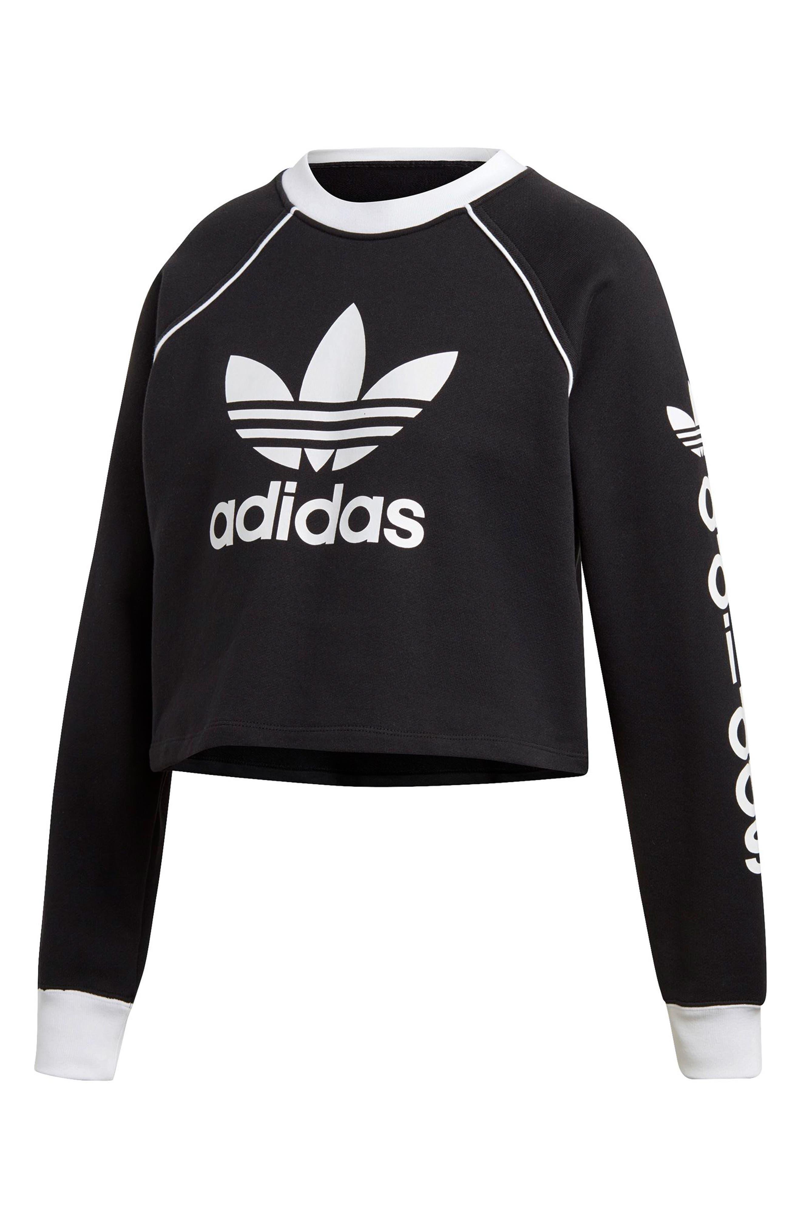Originals Crop Sweatshirt,                             Alternate thumbnail 7, color,                             BLACK