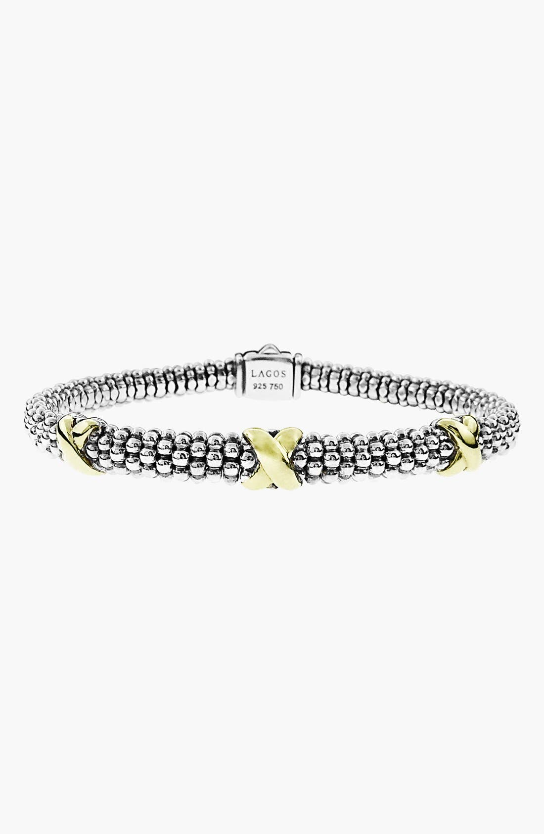 'Signature Caviar' Two-Tone Mini Oval Rope Bracelet,                             Alternate thumbnail 5, color,                             SILVER/ GOLD