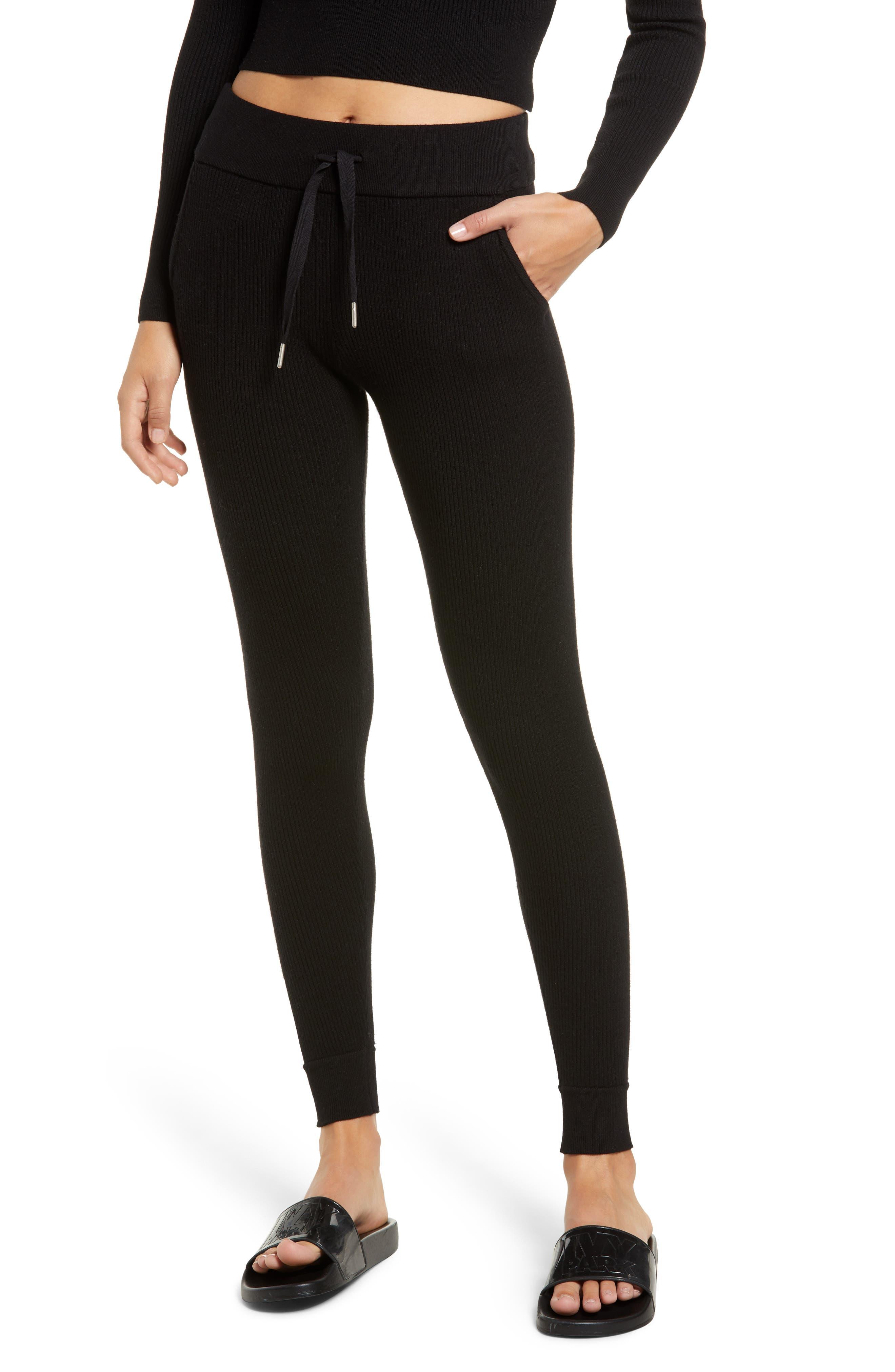 Ribbed Jogger Pants,                         Main,                         color, BLACK