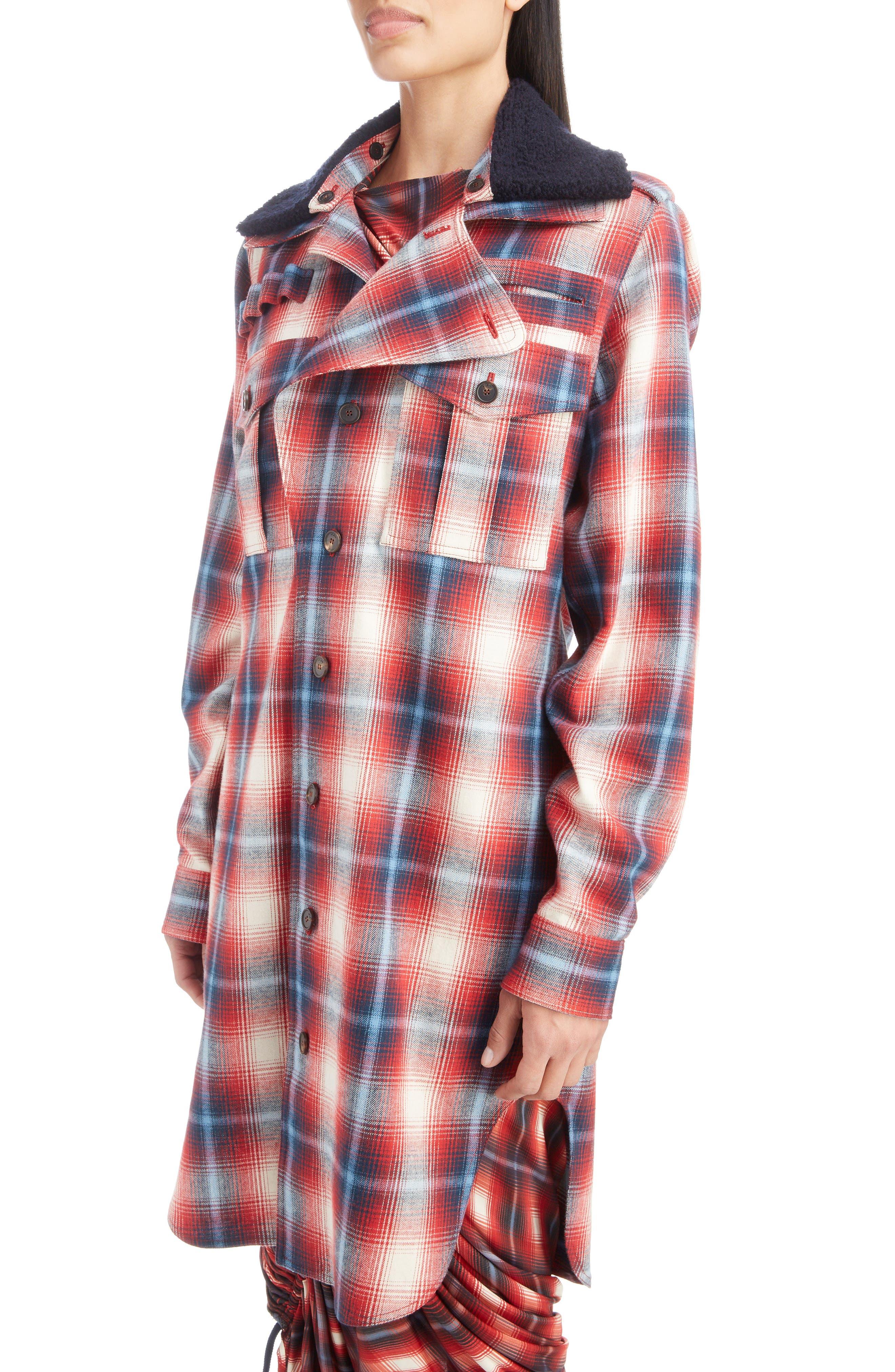 Removable Collar Plaid Cotton Jacket,                             Alternate thumbnail 5, color,                             ROUGE