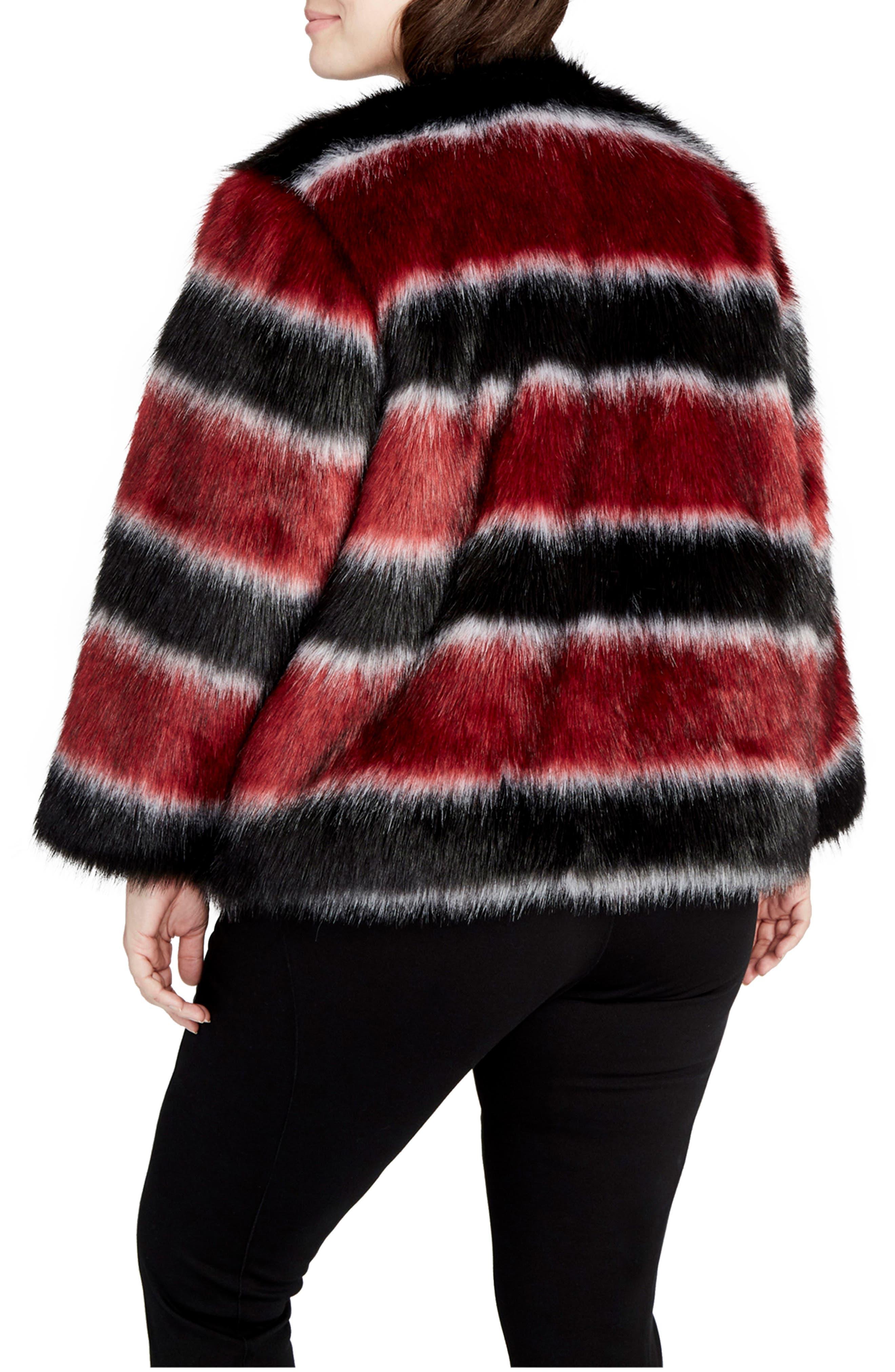 Stripe Faux Fur Coat,                             Alternate thumbnail 2, color,                             001