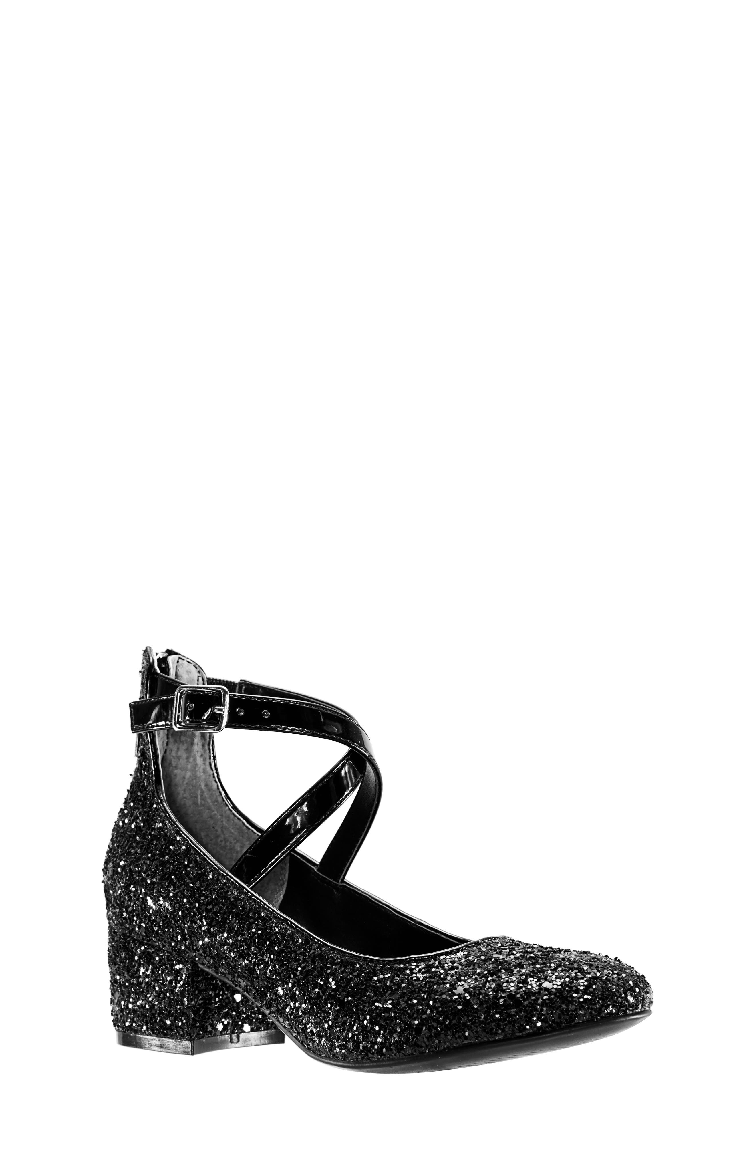 Deisy Glitter Block Heel Pump,                             Main thumbnail 1, color,                             BLACK CHUNK GLITTER/ PATENT