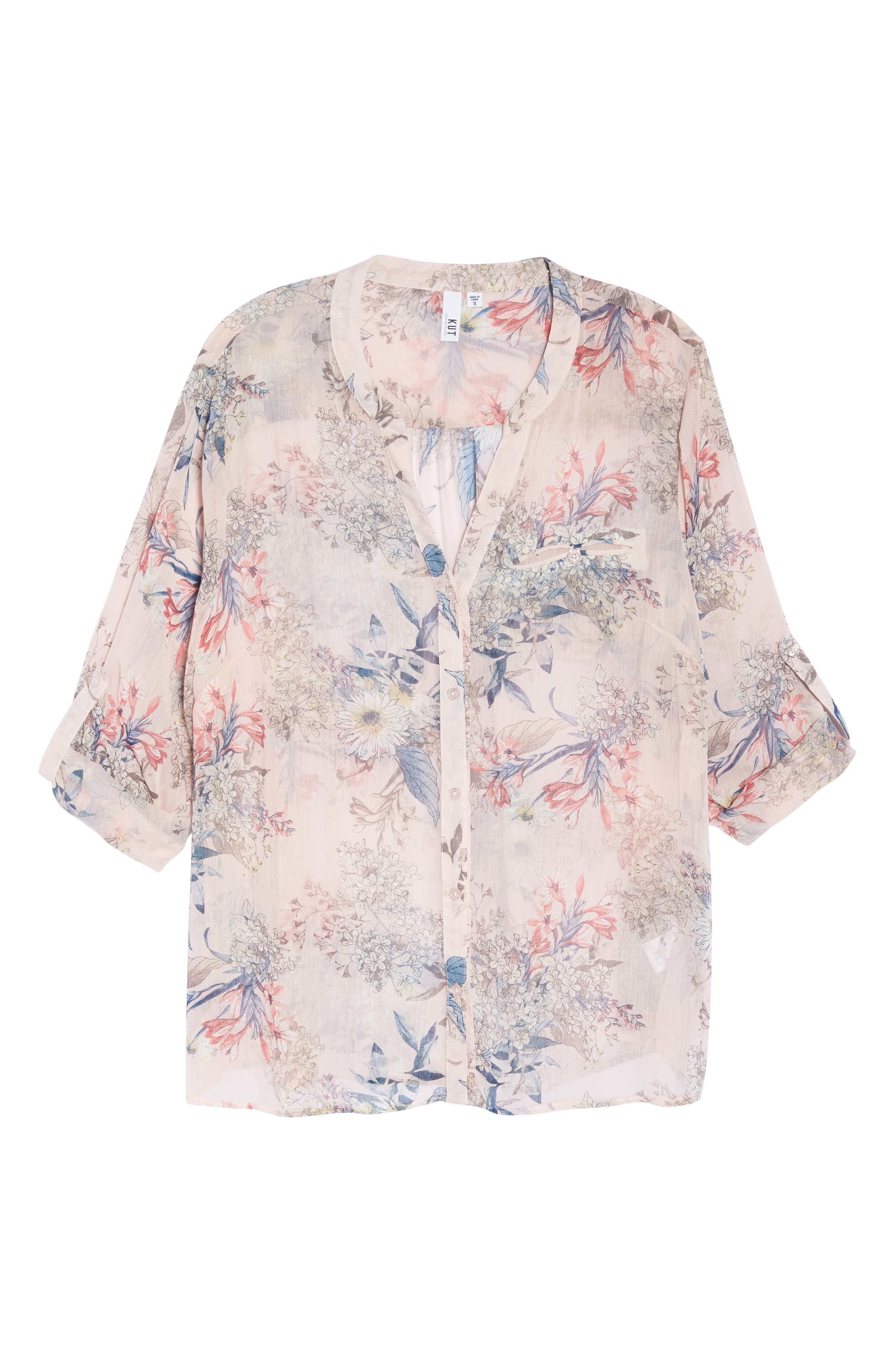 Jasmine Floral Roll Sleeve Top,                             Alternate thumbnail 7, color,                             PALE PINK