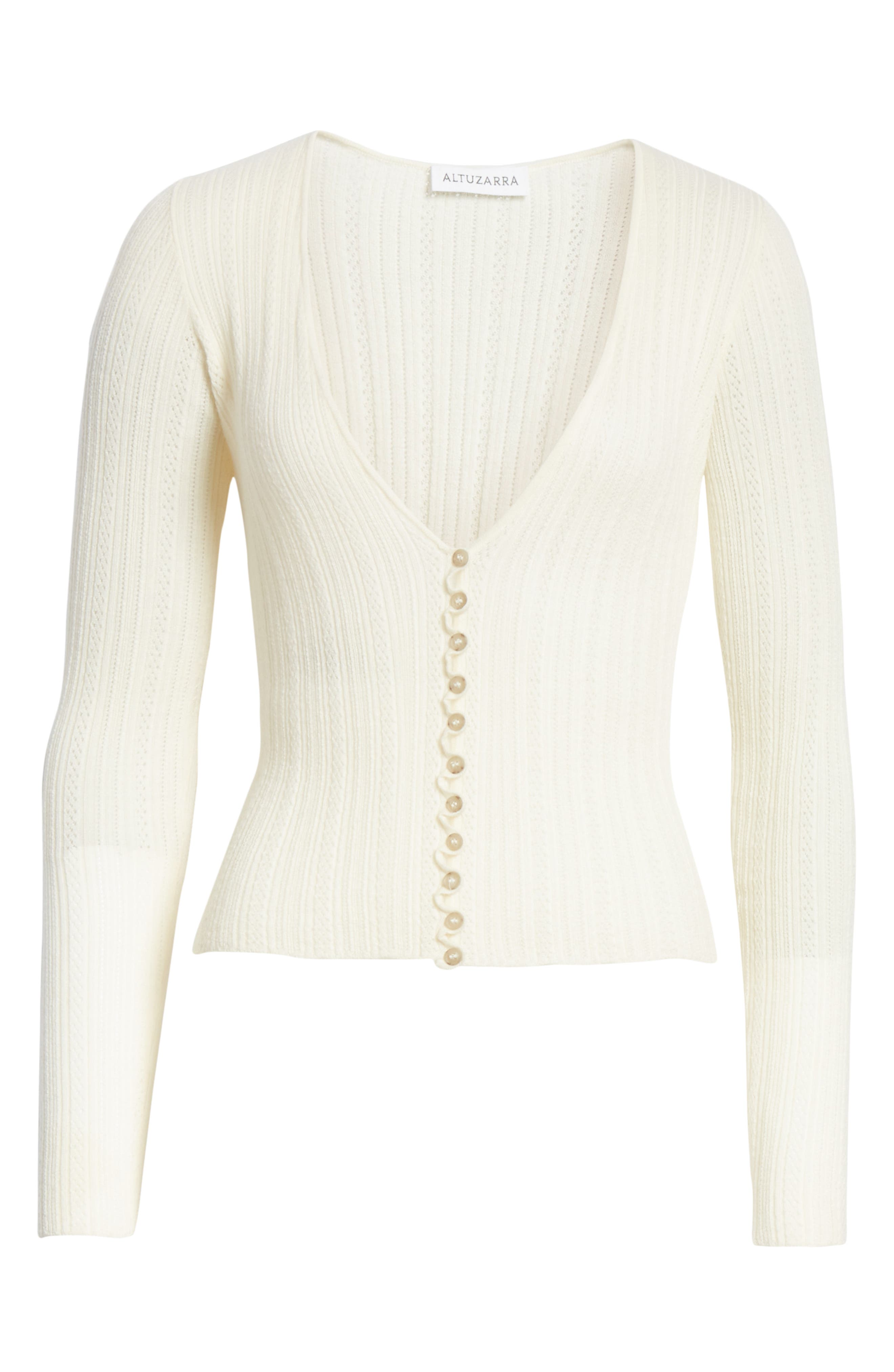 Crop Wool & Cashmere Button Cardigan,                             Alternate thumbnail 7, color,                             IVORY