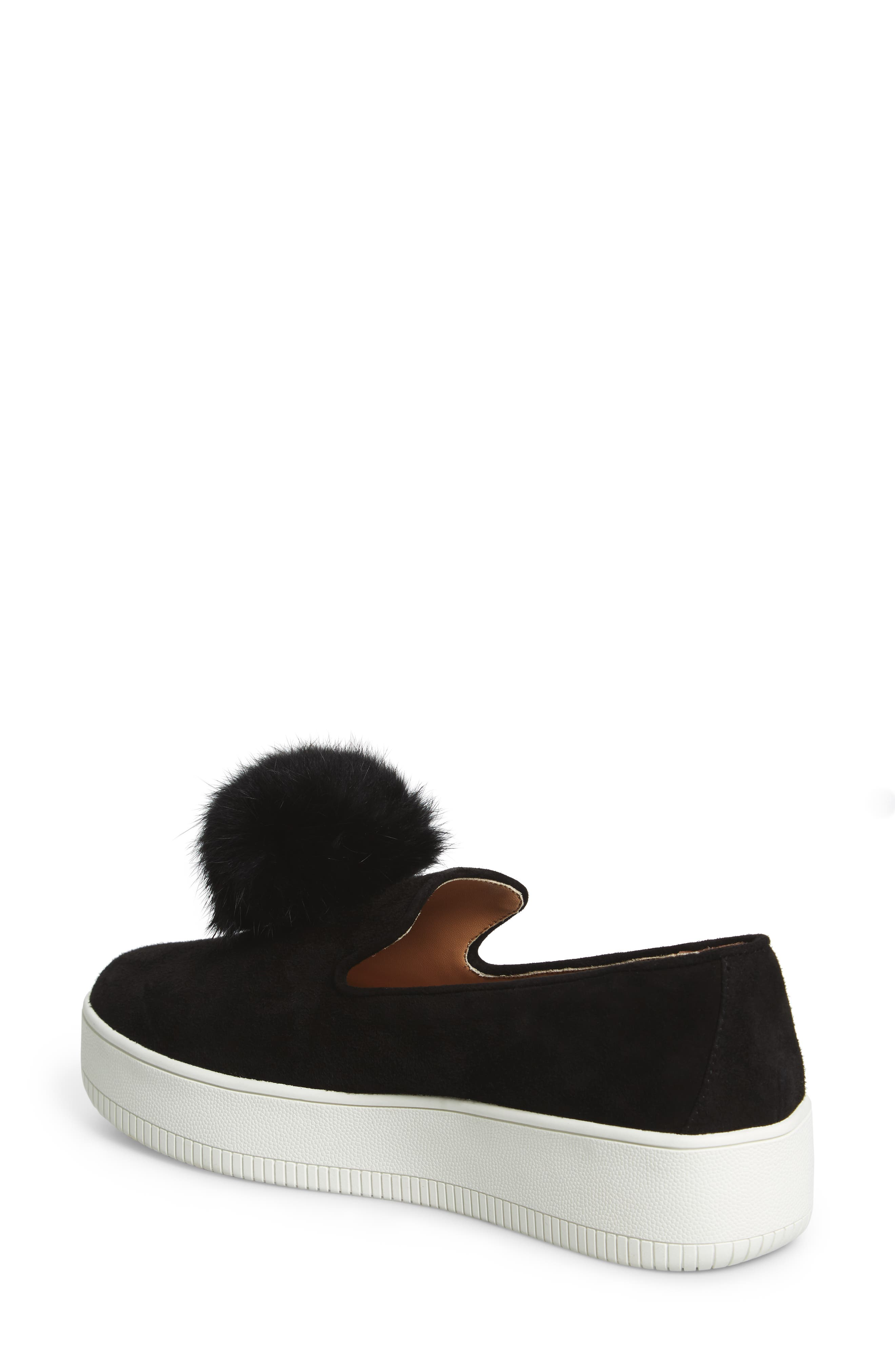 Sammy Platform Sneaker with Genuine Rabbit Fur Pompom,                             Alternate thumbnail 2, color,                             002