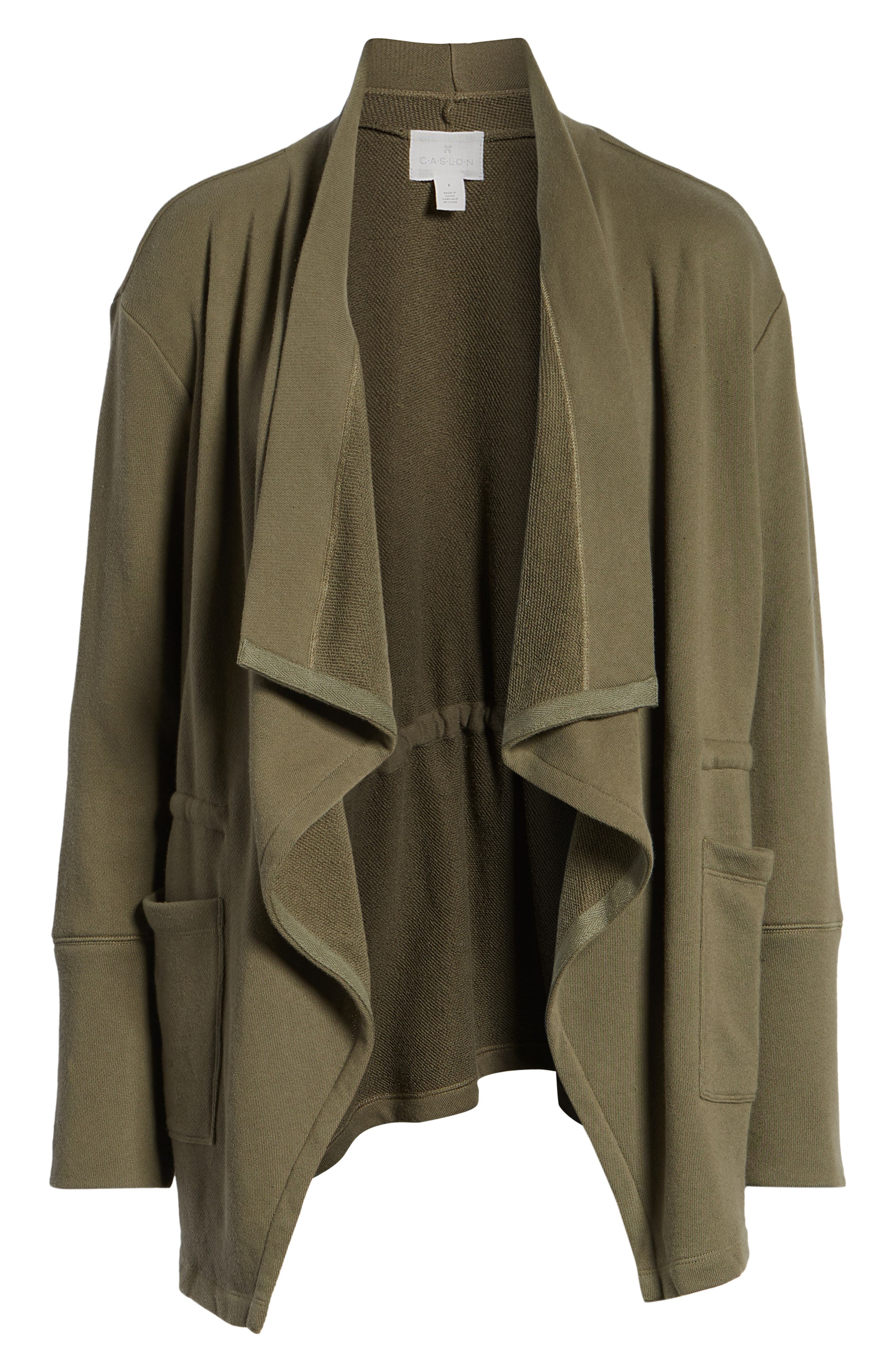 Asymmetrical Drape Collar Terry Jacket,                             Alternate thumbnail 6, color,                             300