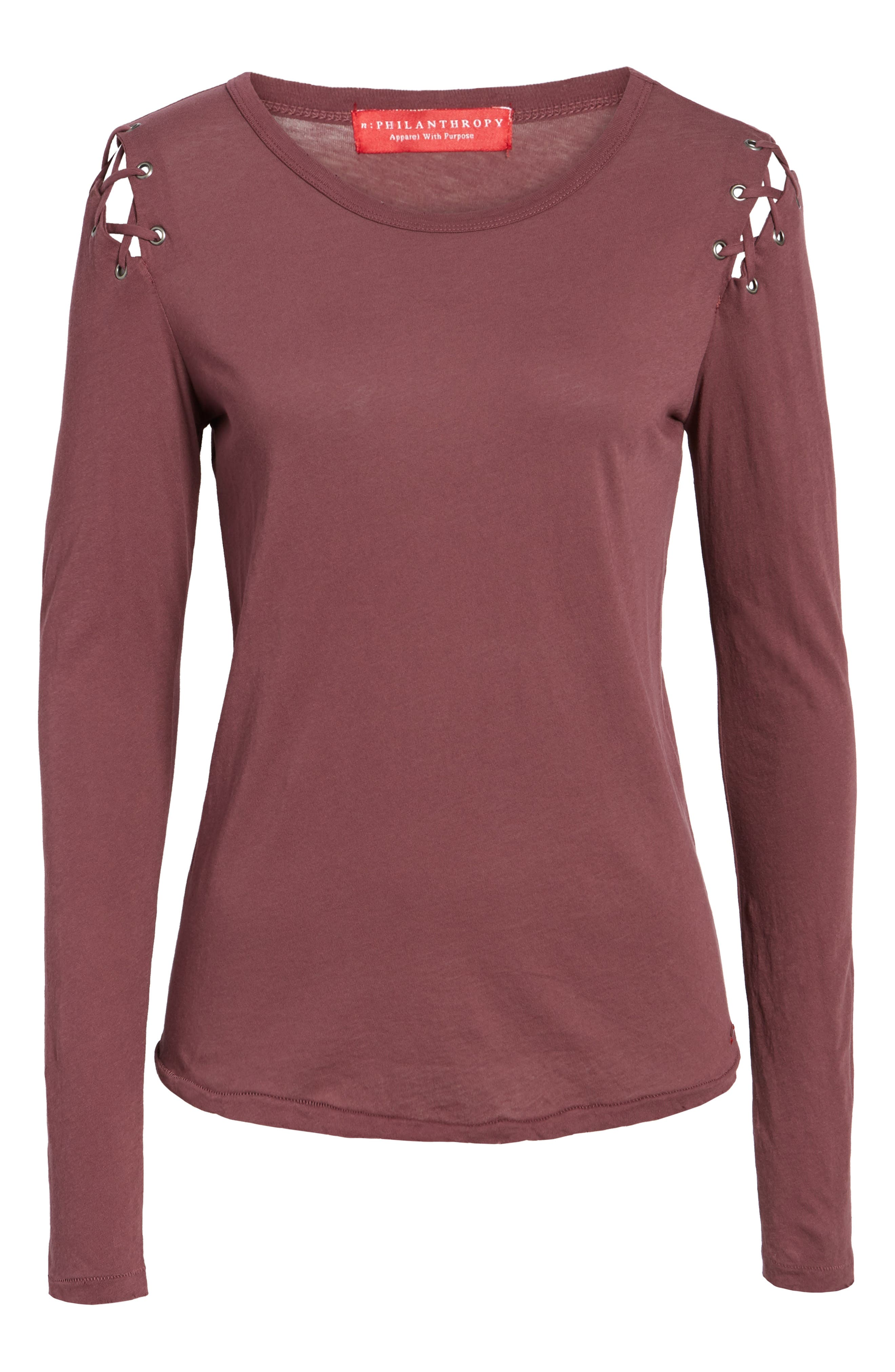 Darcia Lace-Up Tee,                             Alternate thumbnail 6, color,                             930