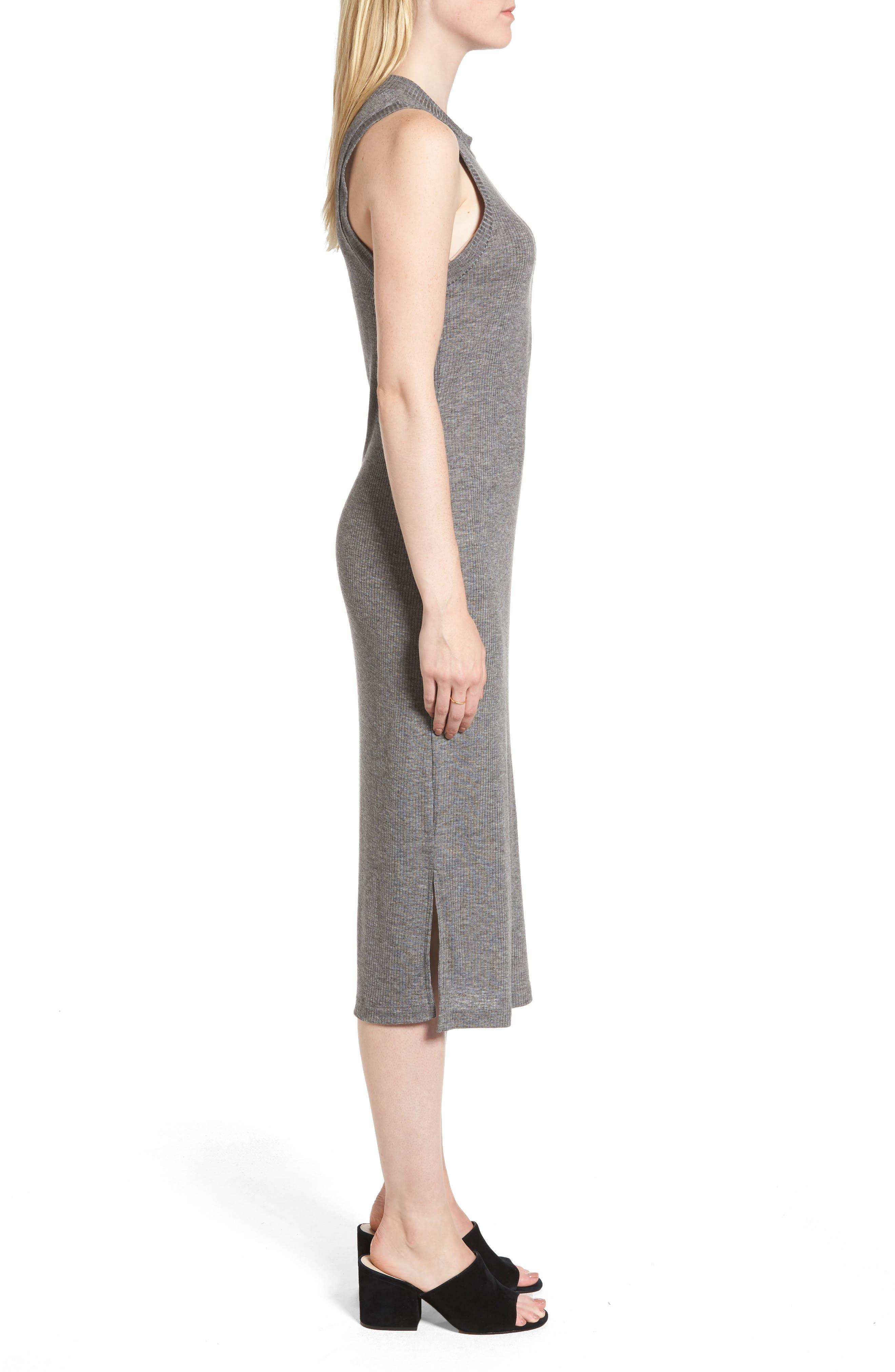 Mock Neck Midi Dress,                             Alternate thumbnail 3, color,                             021