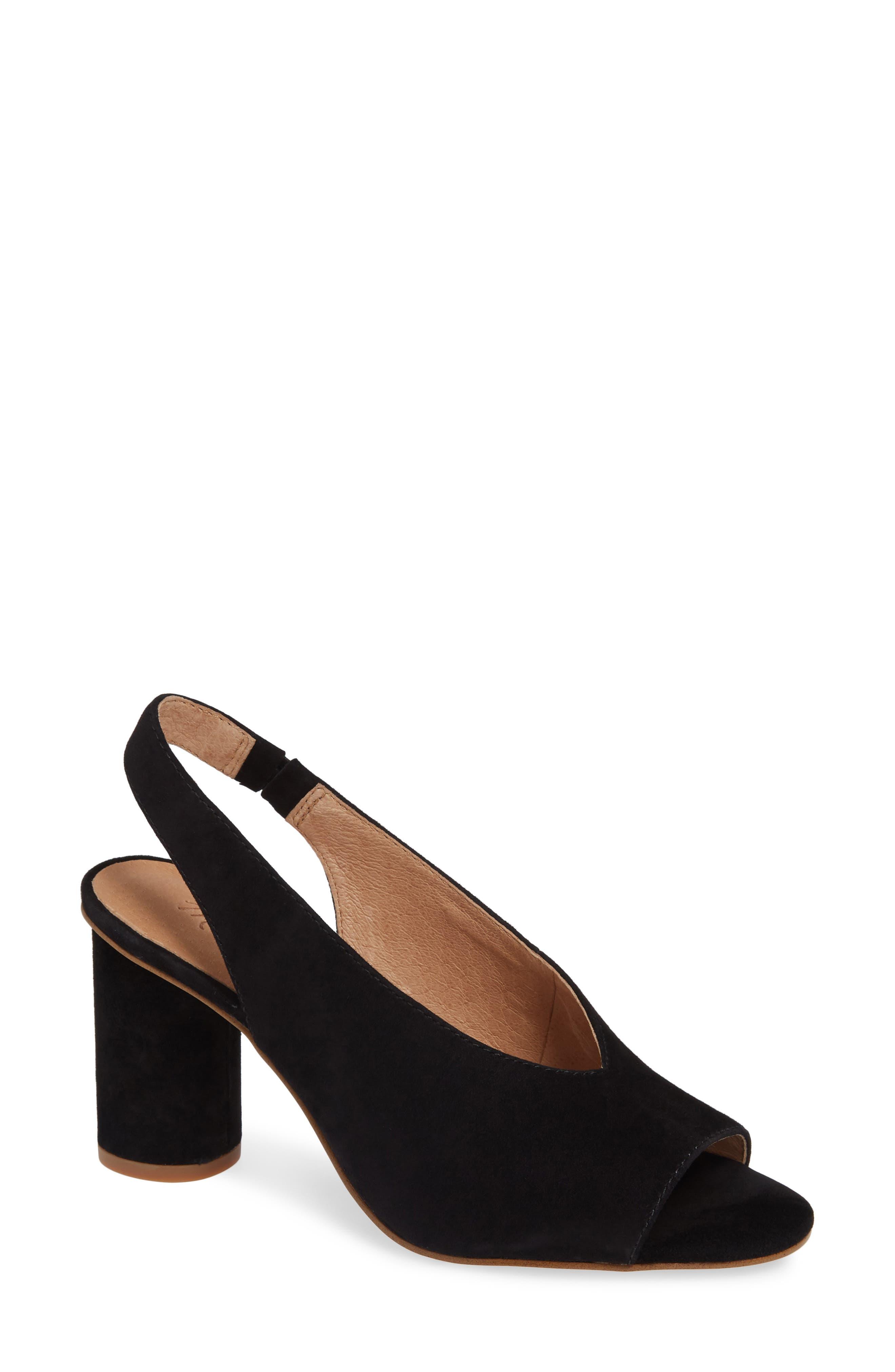 The Alana Slingback Sandal,                             Main thumbnail 1, color,                             TRUE BLACK SUEDE