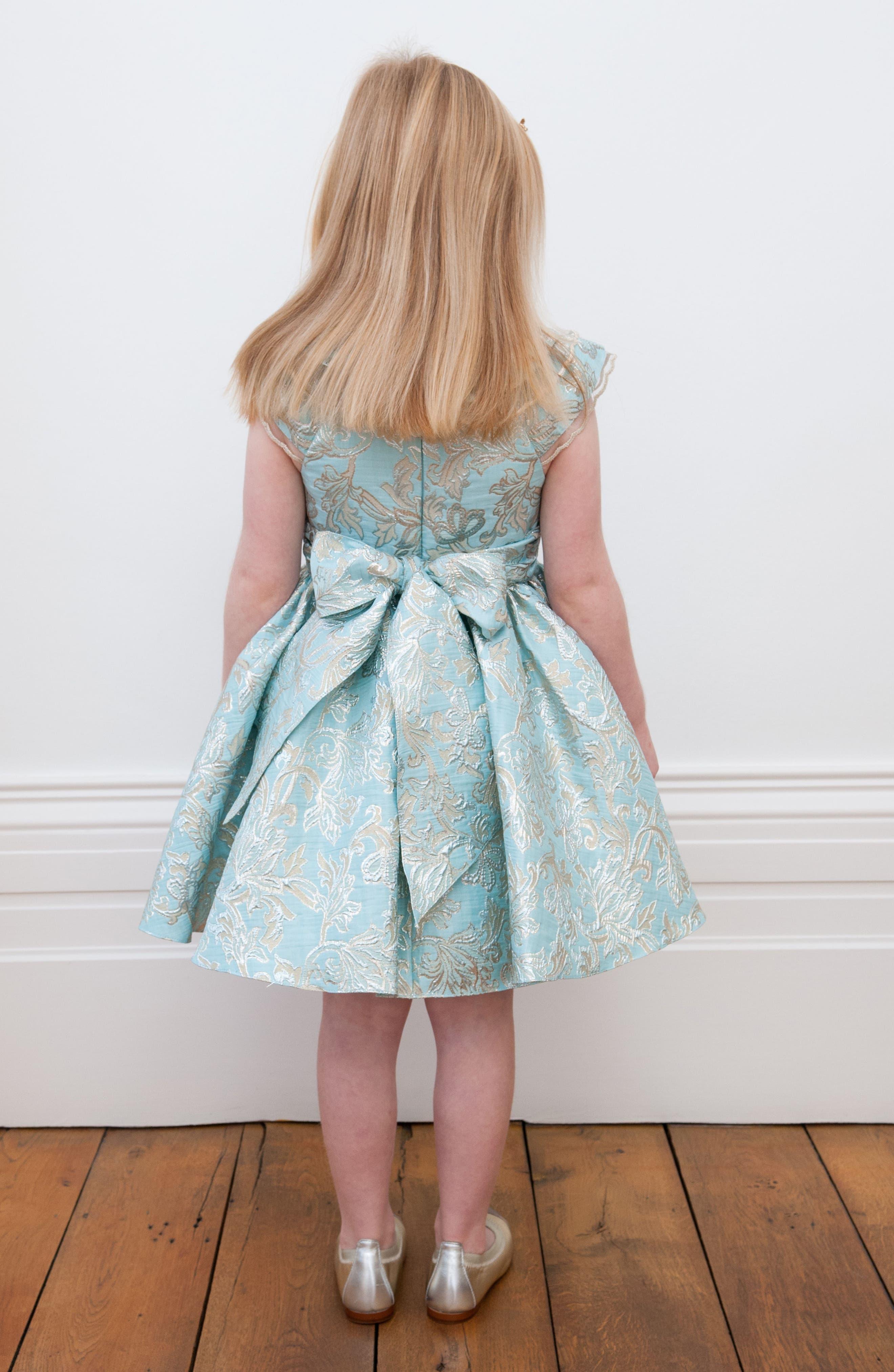 David Chales Ruffle Neck Brocade Dress,                             Alternate thumbnail 5, color,                             440