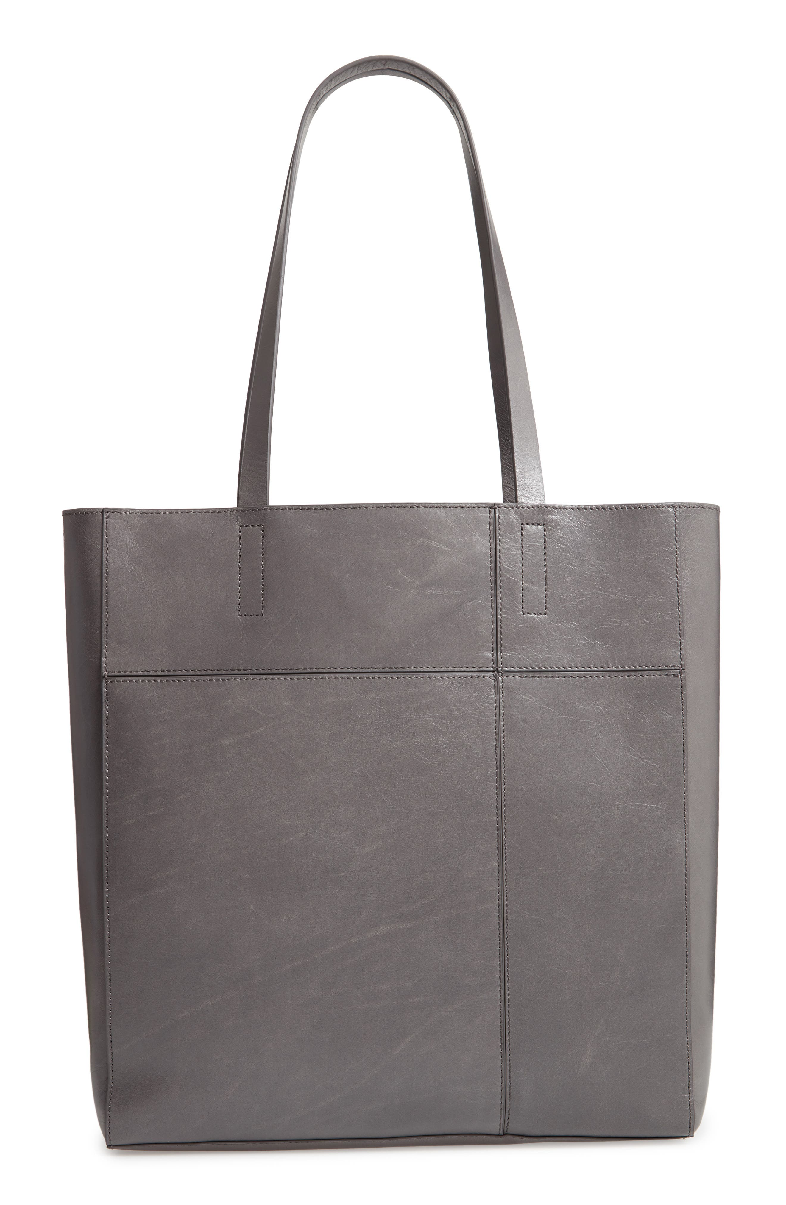Andi Leather Tote,                         Main,                         color, GREY MONUMENT