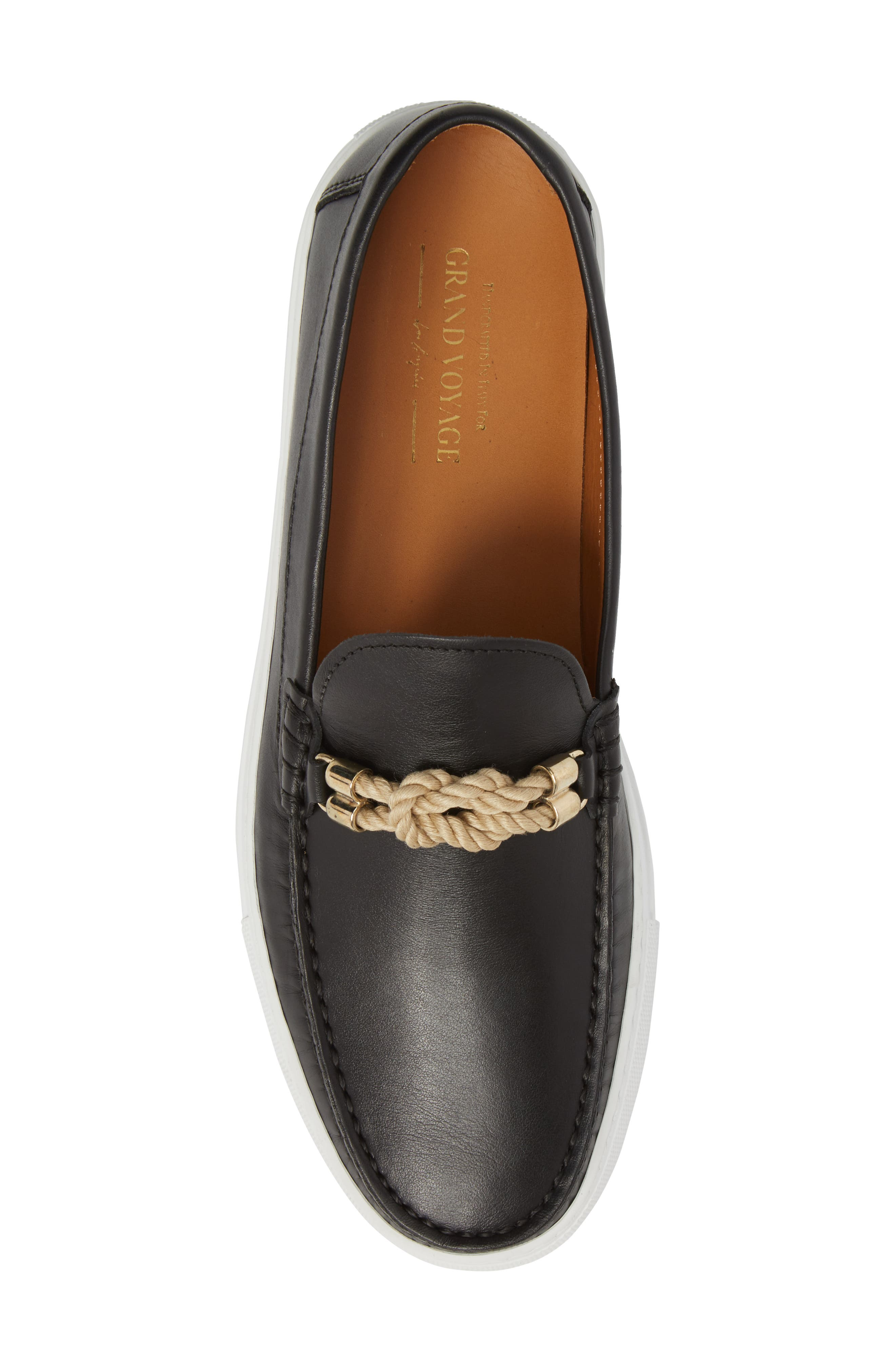 Bitton Square Knot Loafer,                             Alternate thumbnail 5, color,                             BLACK LEATHER
