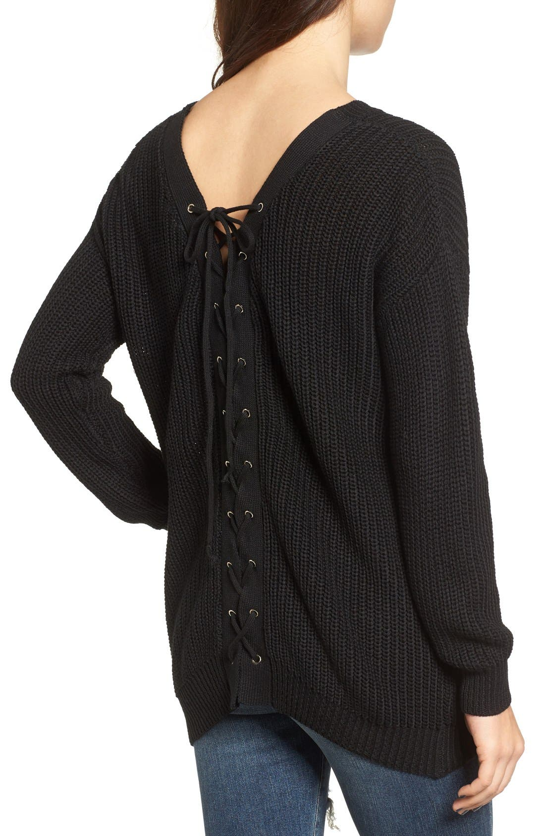 Lace-Up Back Sweater, Main, color, 001