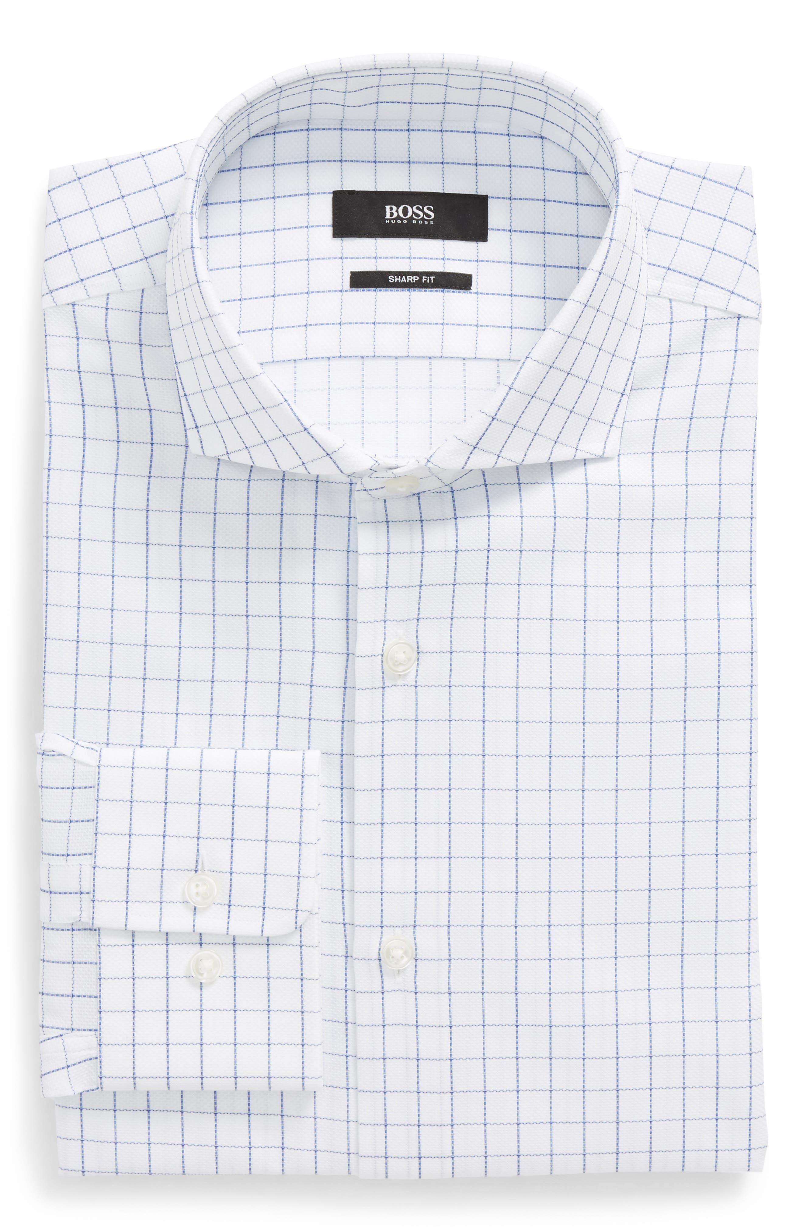 Mark Sharp Fit Check Dress Shirt,                         Main,                         color, 100