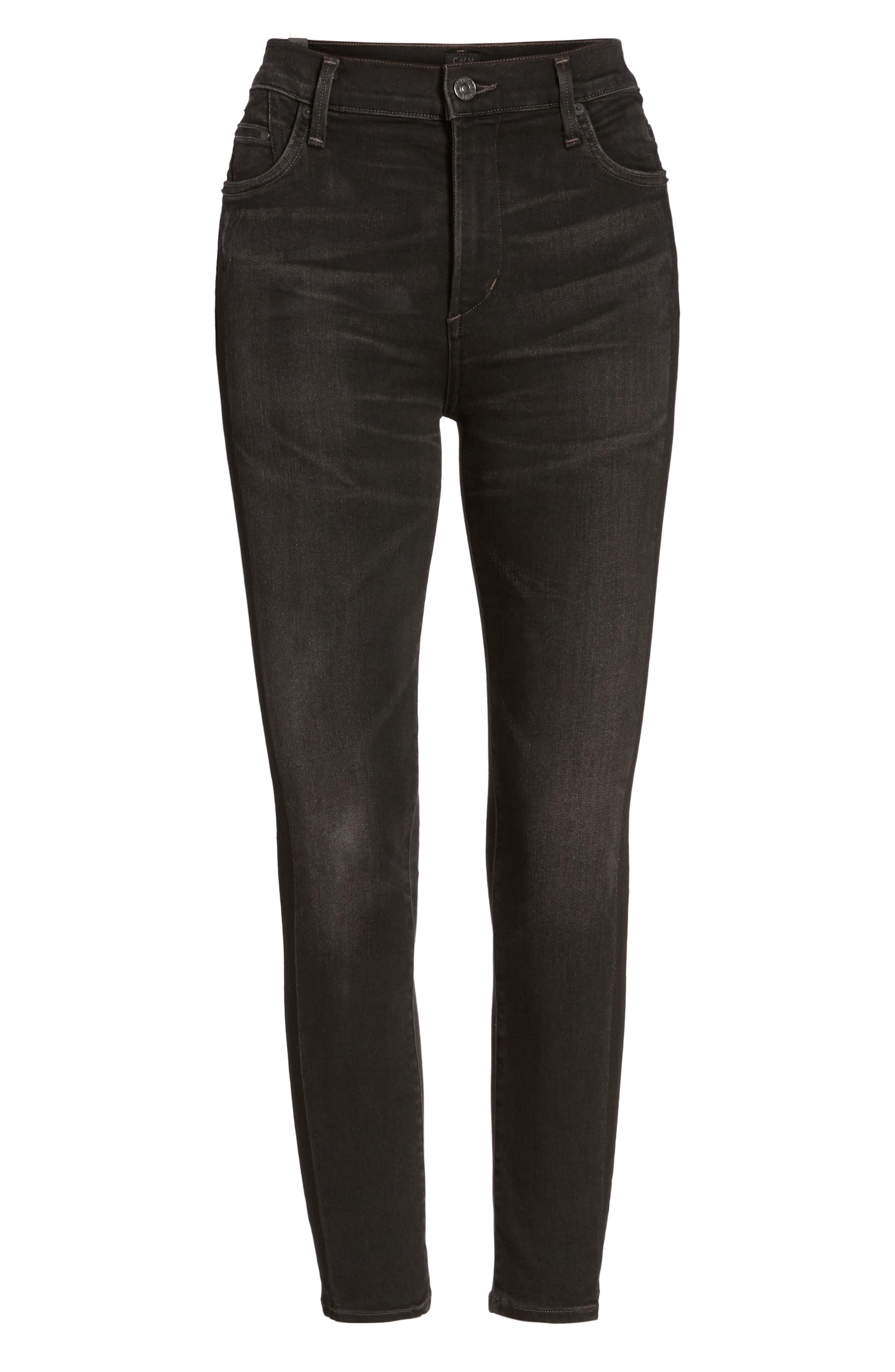 Rocket High Waist Crop Skinny Jeans,                             Alternate thumbnail 6, color,                             009