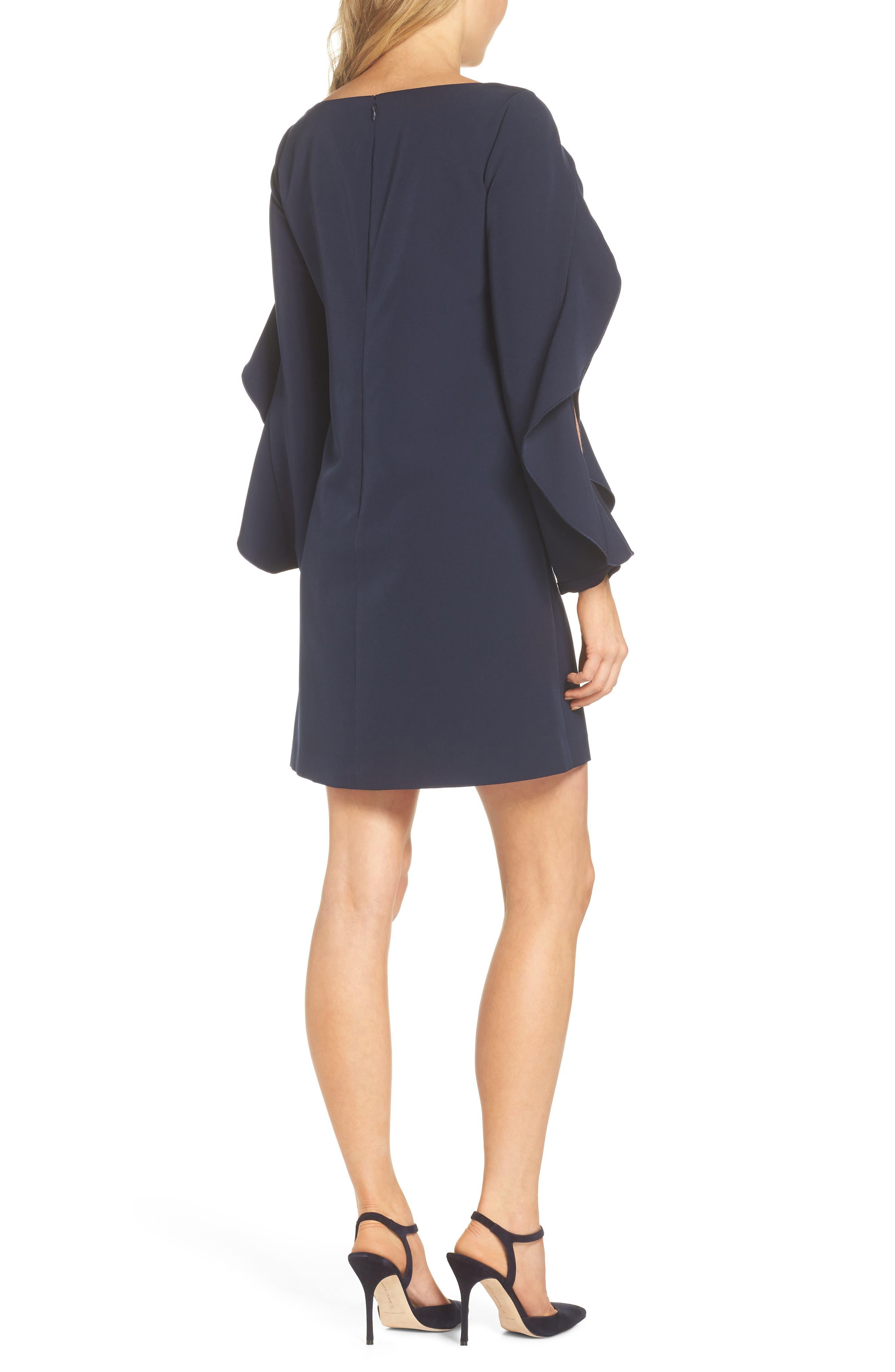 Crepe Ruffle Sleeve Shift Dress,                             Alternate thumbnail 2, color,                             410