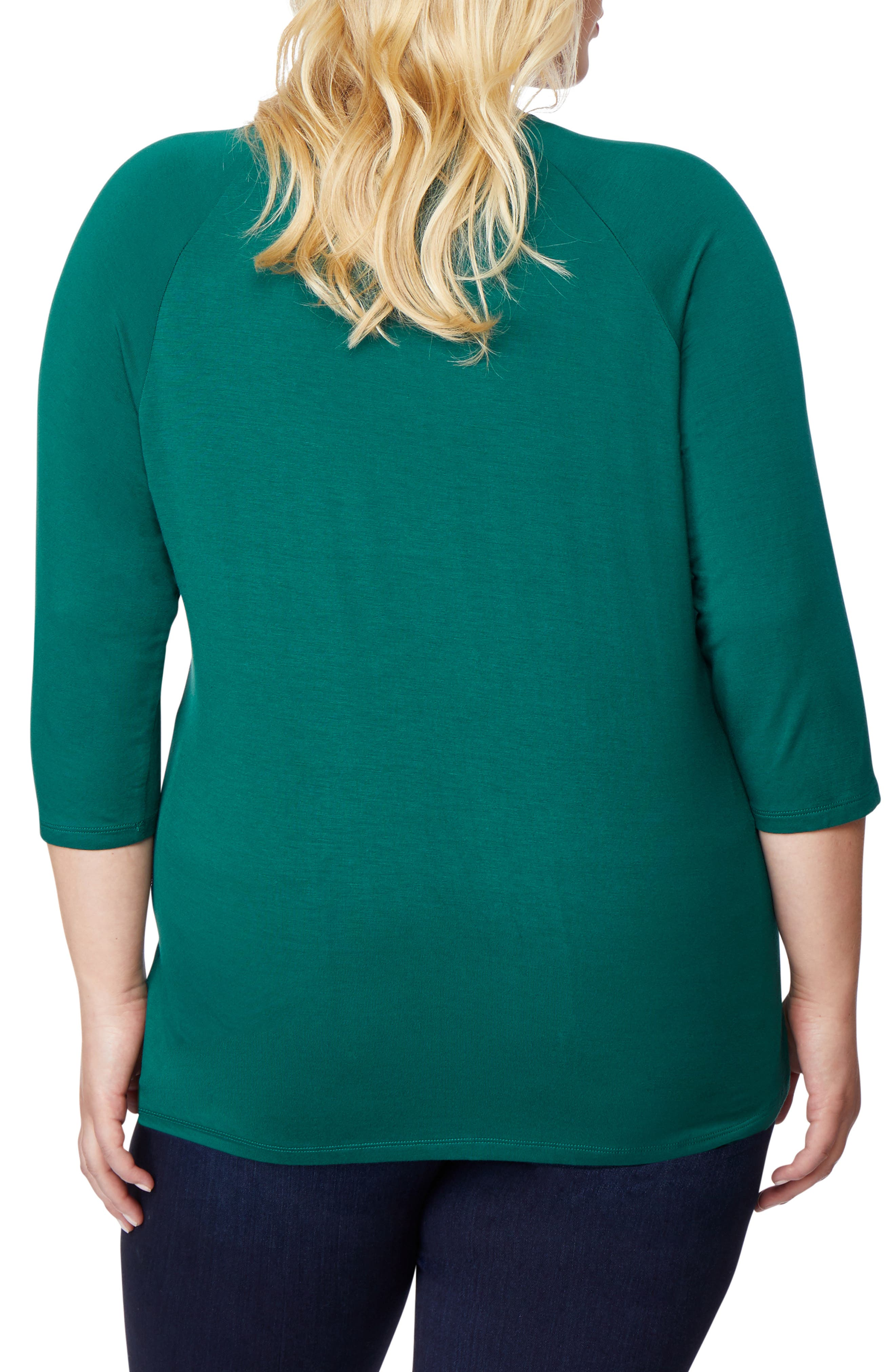 Embellished Raglan Tee,                             Alternate thumbnail 2, color,                             BOTANICAL GREEN